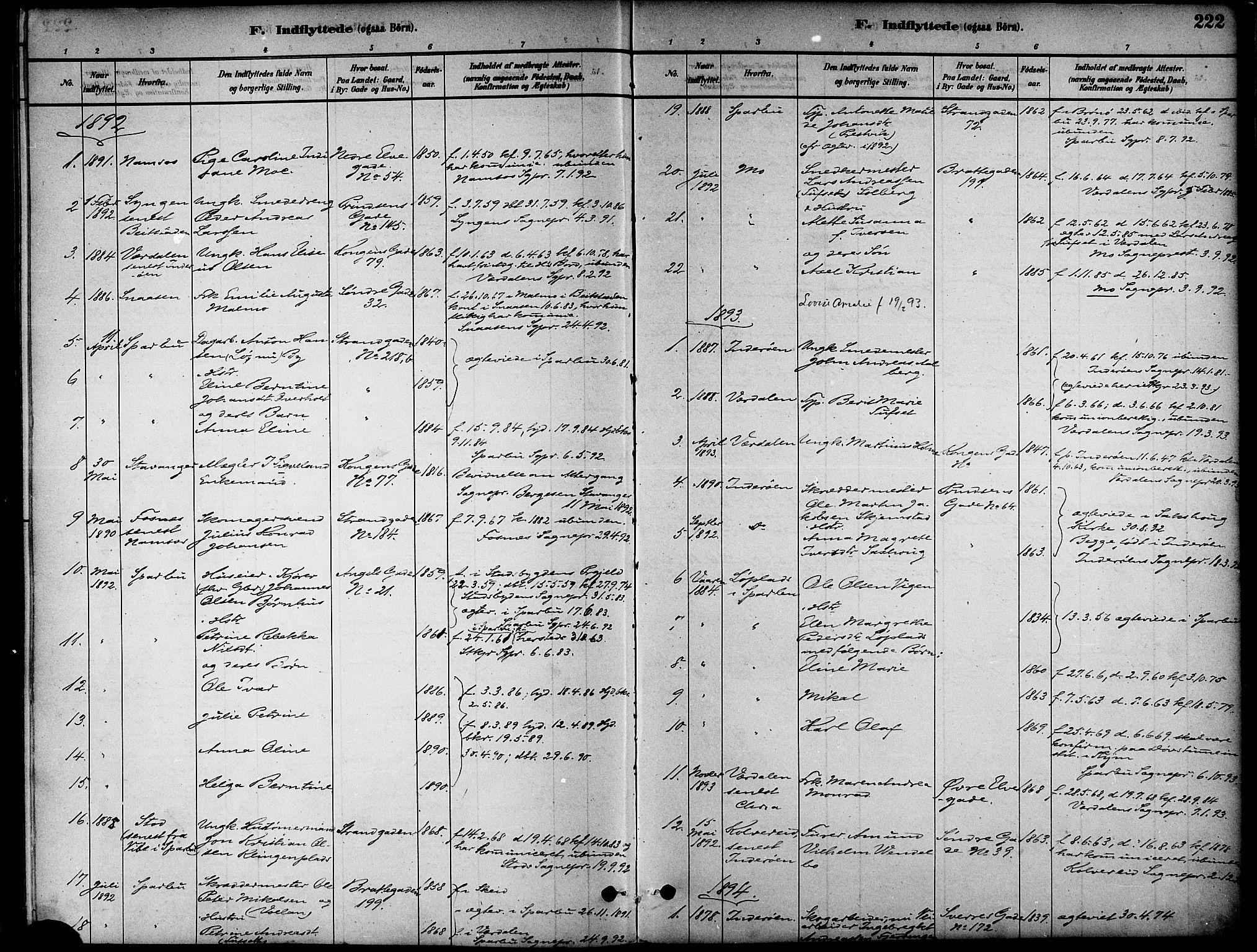 SAT, Ministerialprotokoller, klokkerbøker og fødselsregistre - Nord-Trøndelag, 739/L0371: Ministerialbok nr. 739A03, 1881-1895, s. 222