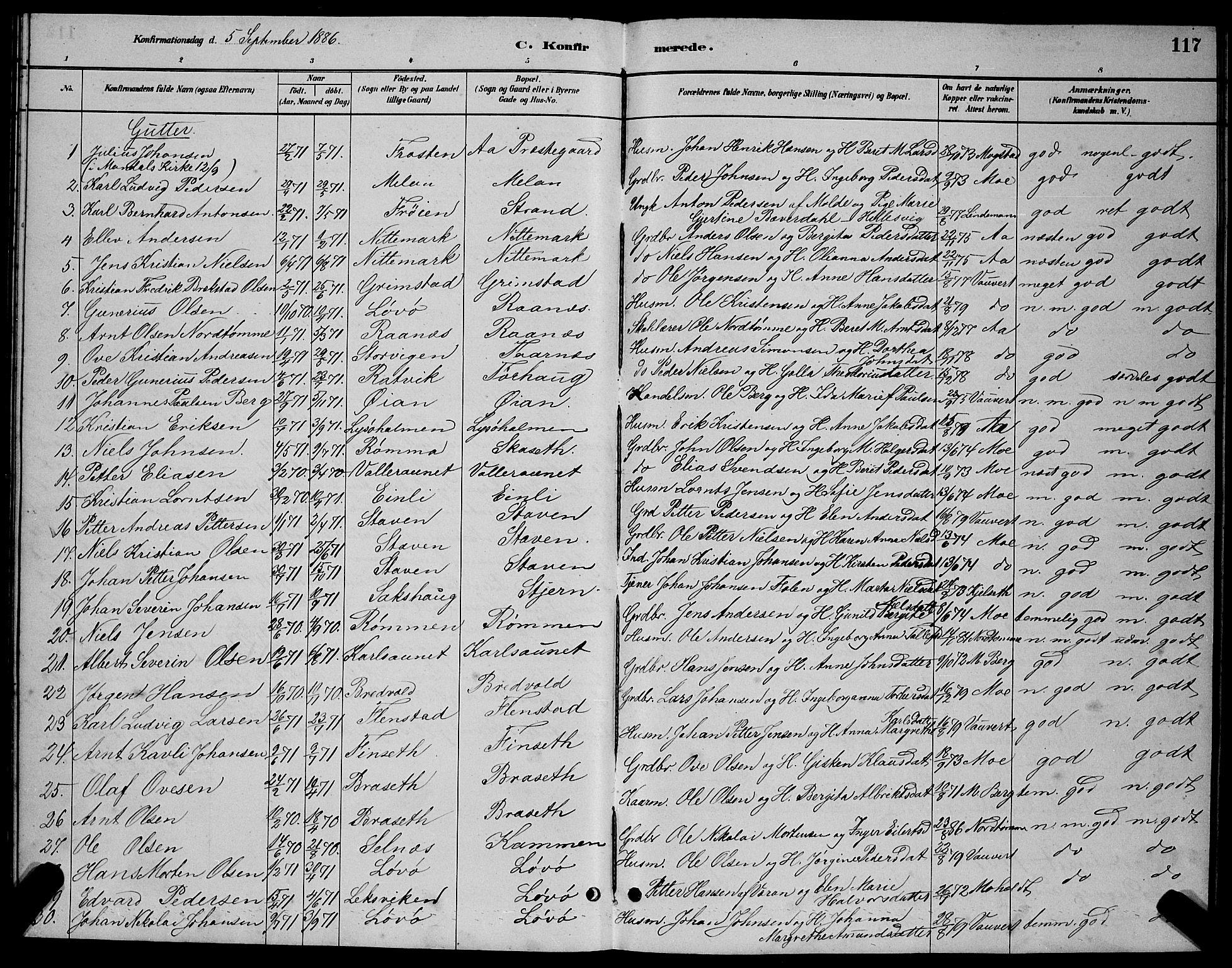 SAT, Ministerialprotokoller, klokkerbøker og fødselsregistre - Sør-Trøndelag, 655/L0687: Klokkerbok nr. 655C03, 1880-1898, s. 117