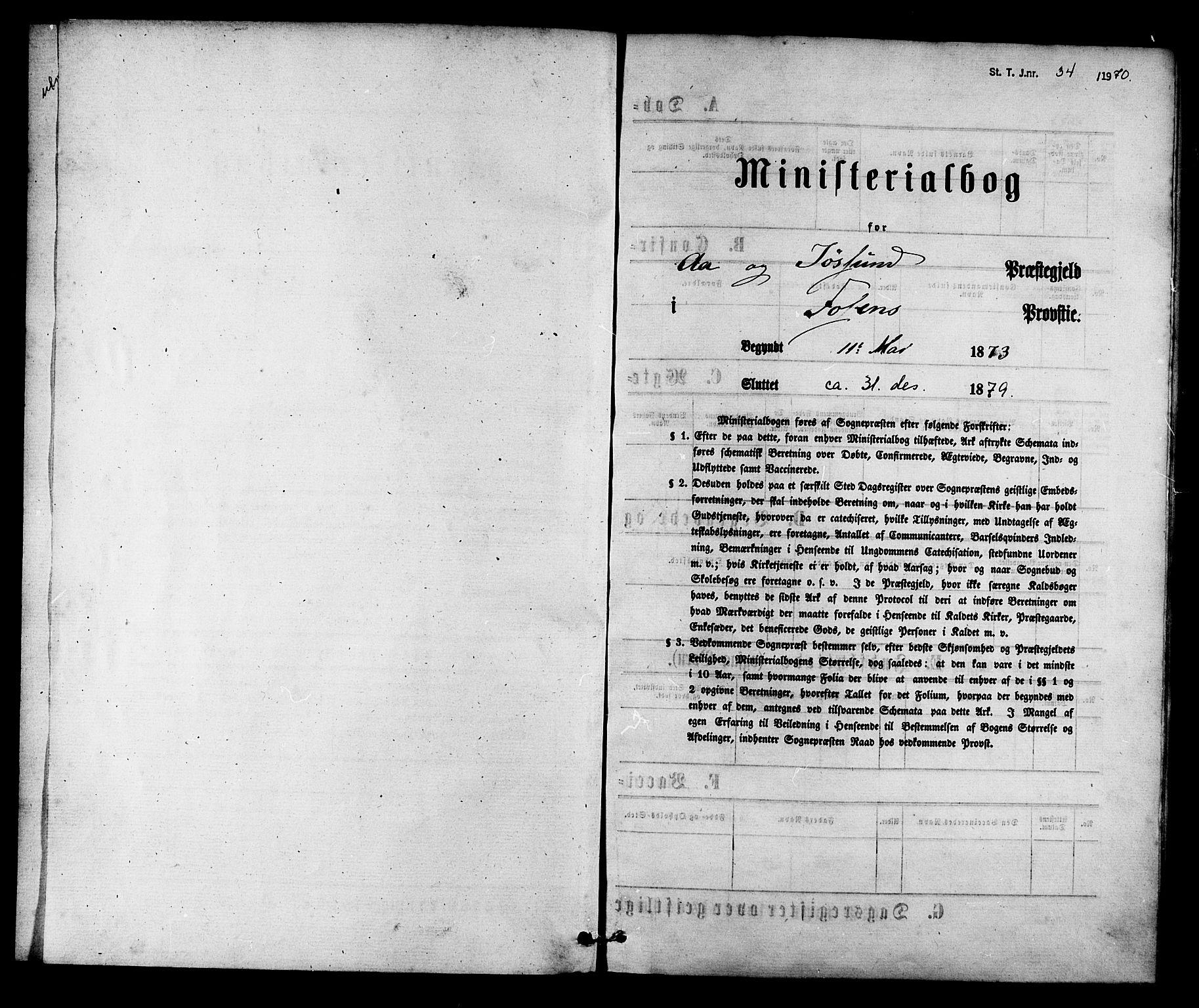 SAT, Ministerialprotokoller, klokkerbøker og fødselsregistre - Sør-Trøndelag, 655/L0679: Ministerialbok nr. 655A08, 1873-1879