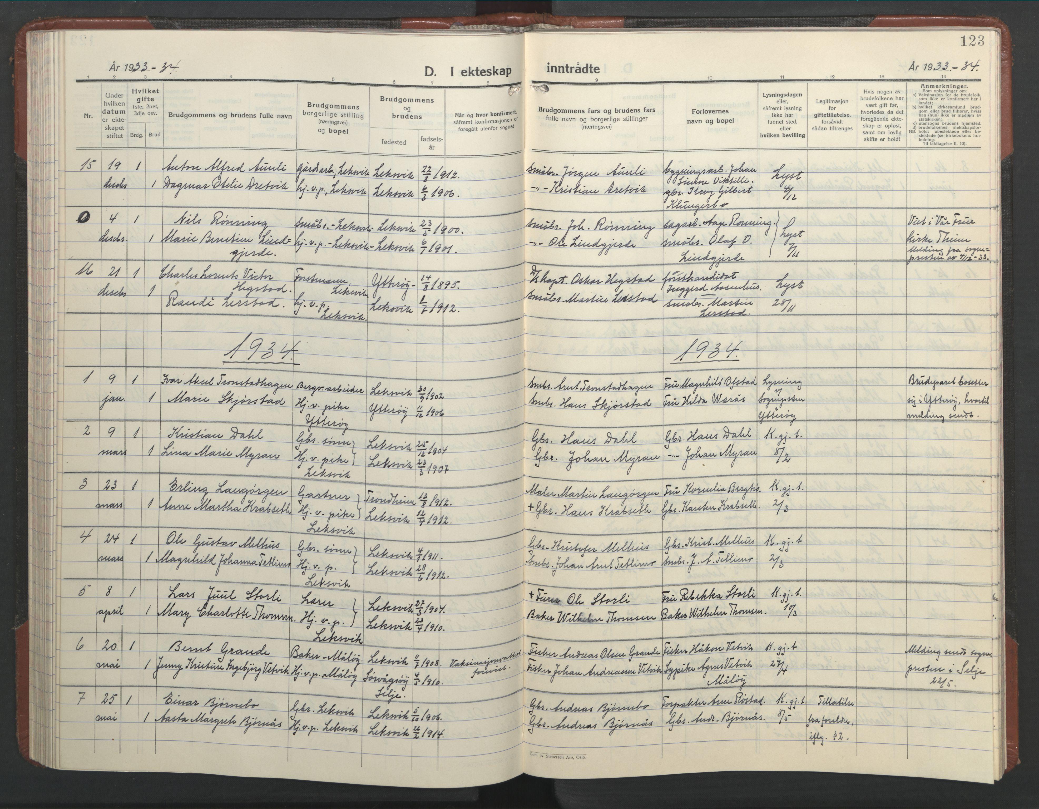 SAT, Ministerialprotokoller, klokkerbøker og fødselsregistre - Nord-Trøndelag, 701/L0019: Klokkerbok nr. 701C03, 1930-1953, s. 123