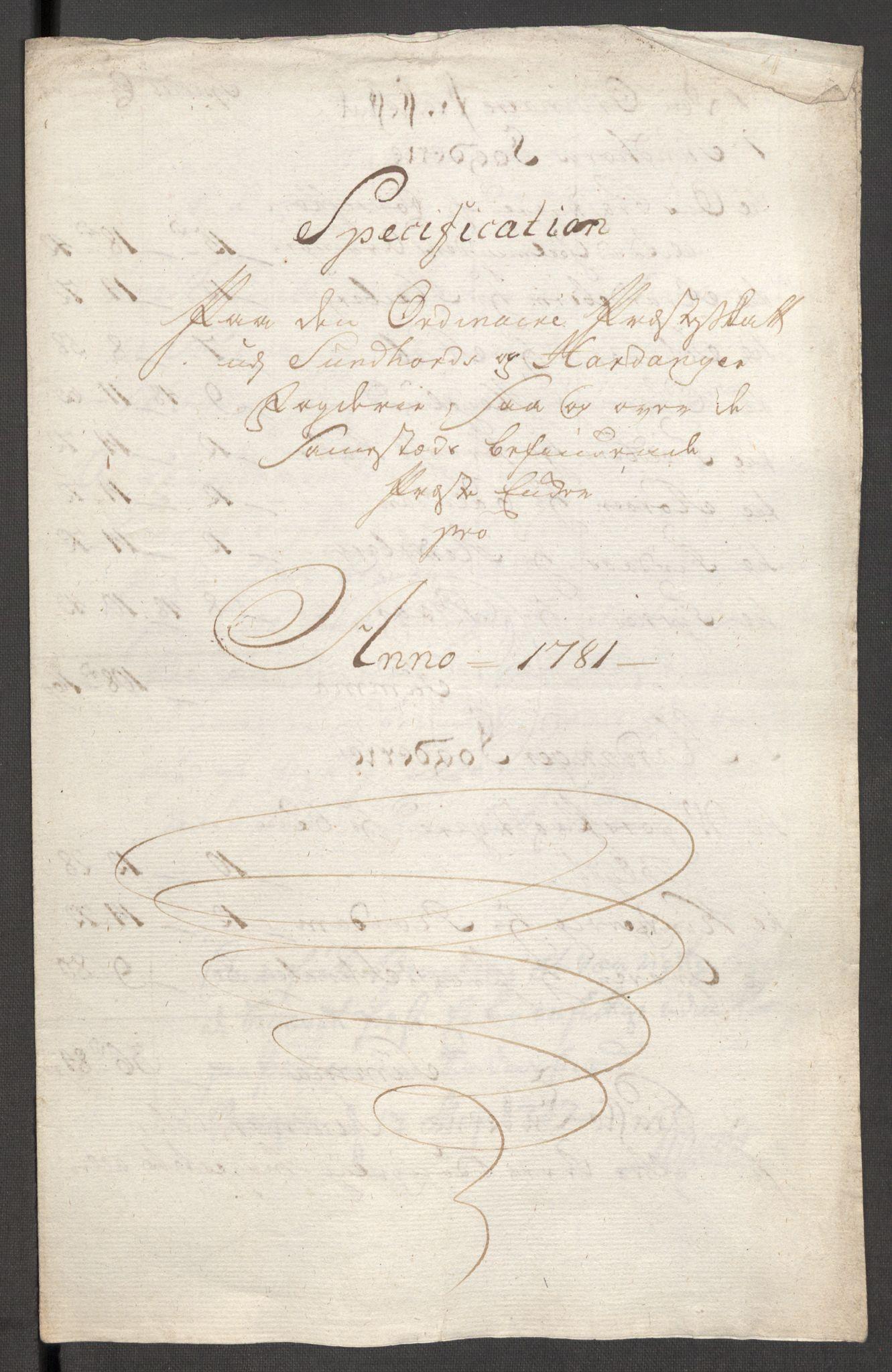 RA, Rentekammeret inntil 1814, Reviderte regnskaper, Fogderegnskap, R48/L3097: Fogderegnskap Sunnhordland og Hardanger, 1781, s. 71