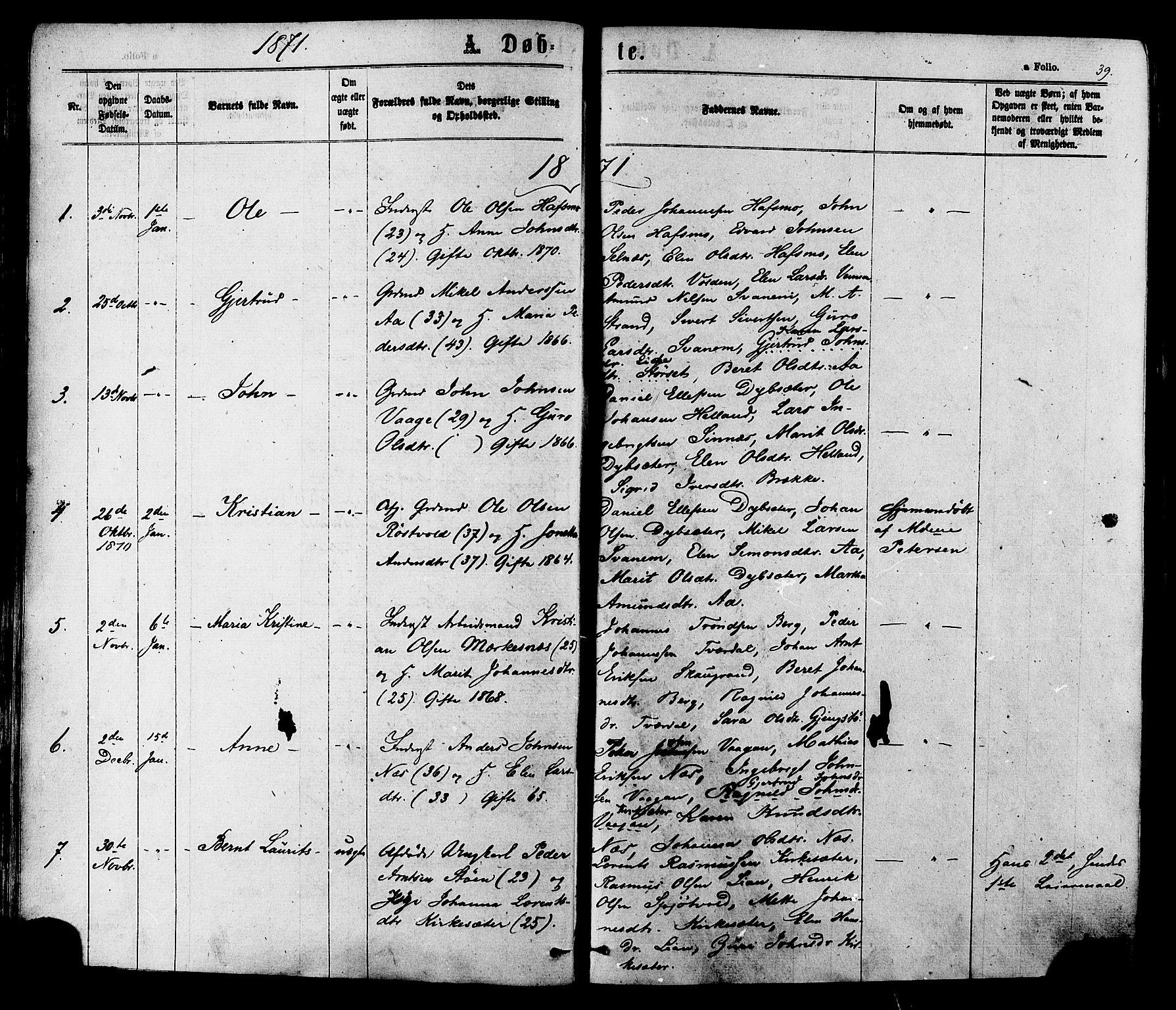 SAT, Ministerialprotokoller, klokkerbøker og fødselsregistre - Sør-Trøndelag, 630/L0495: Ministerialbok nr. 630A08, 1868-1878, s. 39