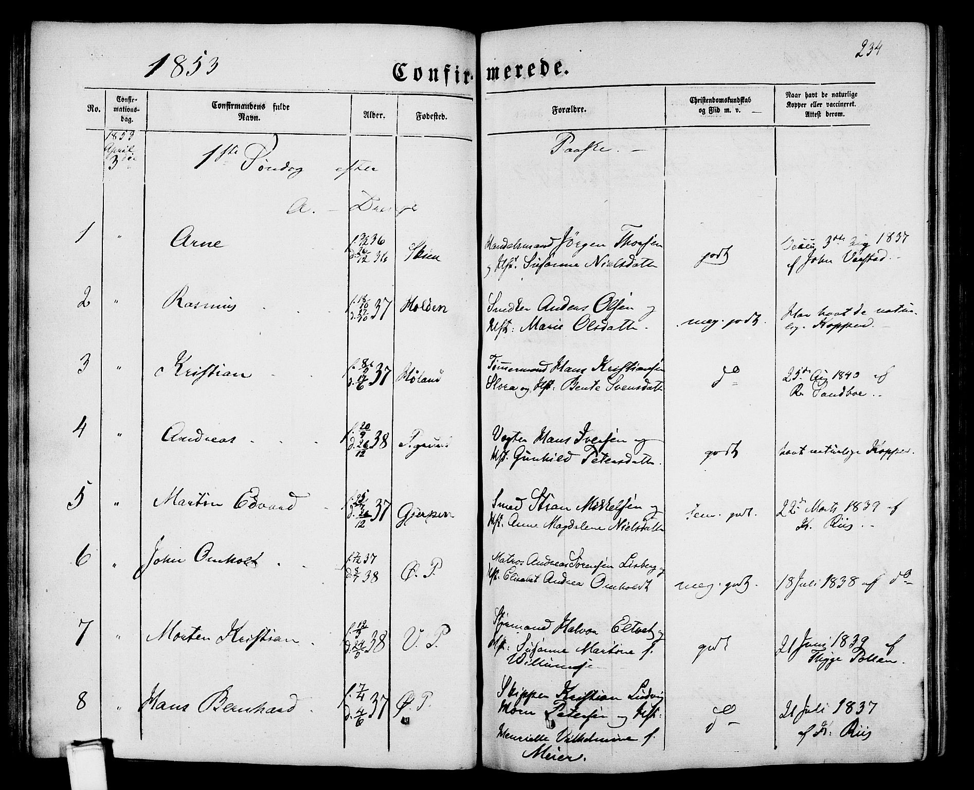 SAKO, Porsgrunn kirkebøker , G/Gb/L0004: Klokkerbok nr. II 4, 1853-1882, s. 234