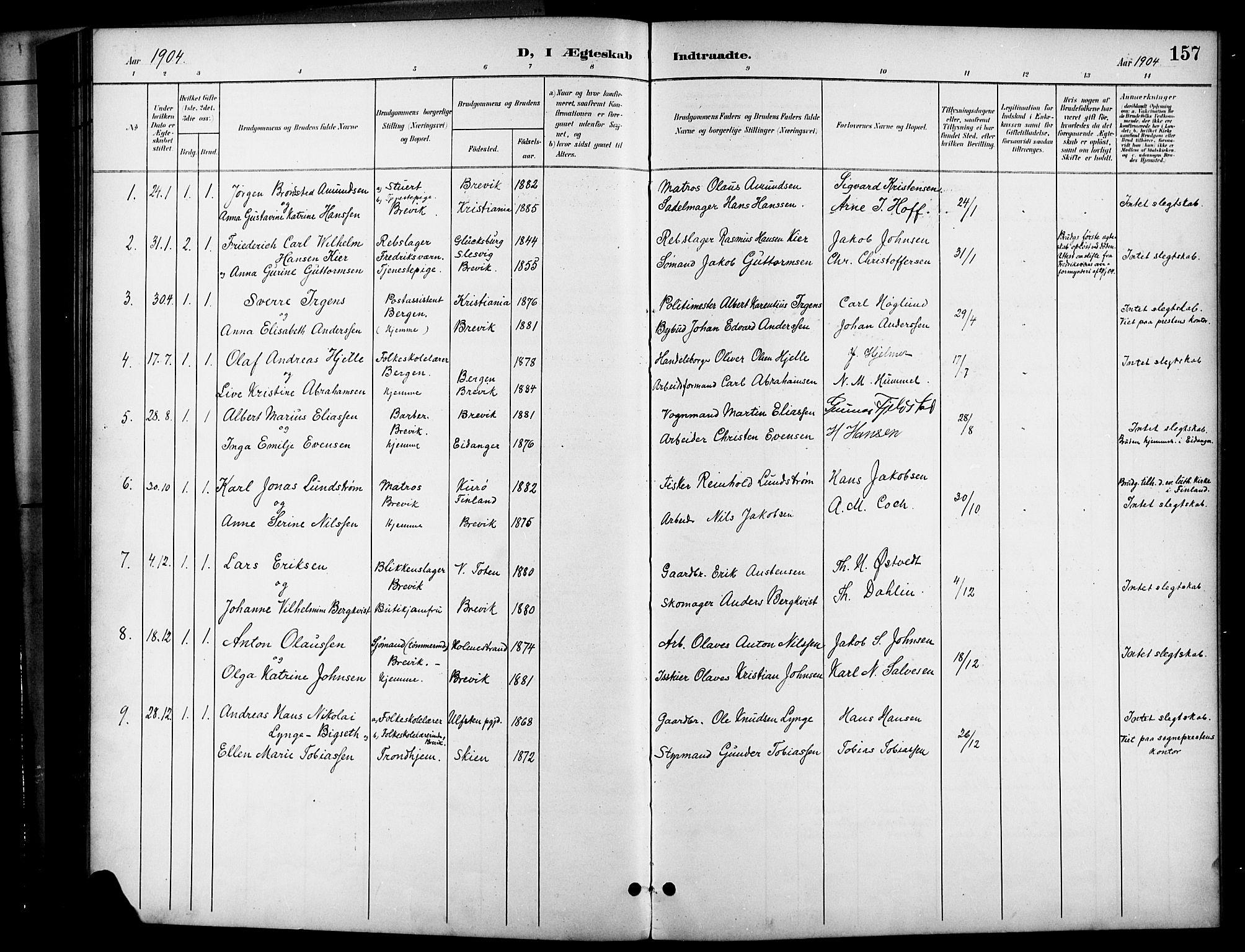 SAKO, Brevik kirkebøker, G/Ga/L0005: Klokkerbok nr. 5, 1901-1924, s. 157