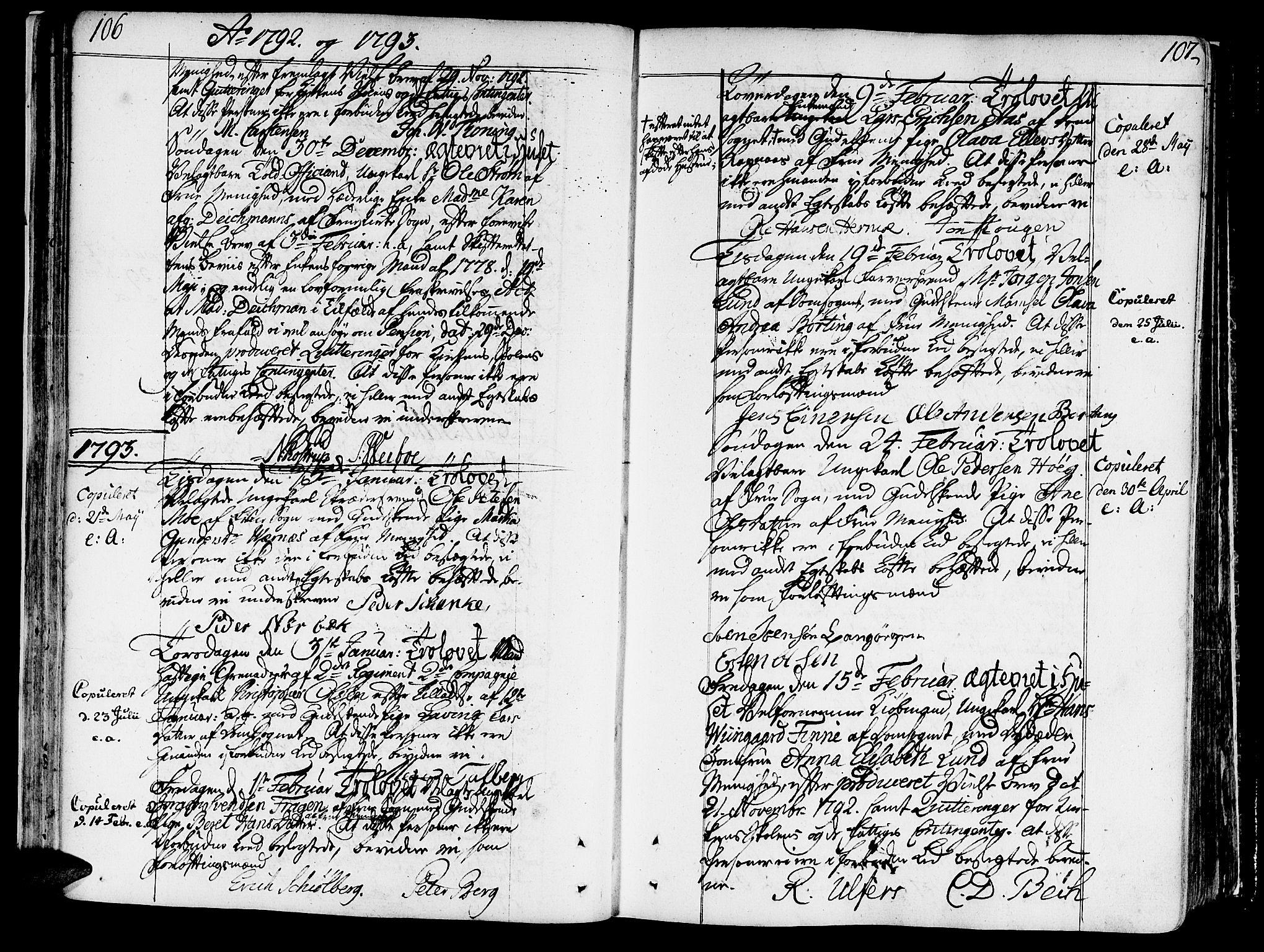 SAT, Ministerialprotokoller, klokkerbøker og fødselsregistre - Sør-Trøndelag, 602/L0105: Ministerialbok nr. 602A03, 1774-1814, s. 106-107
