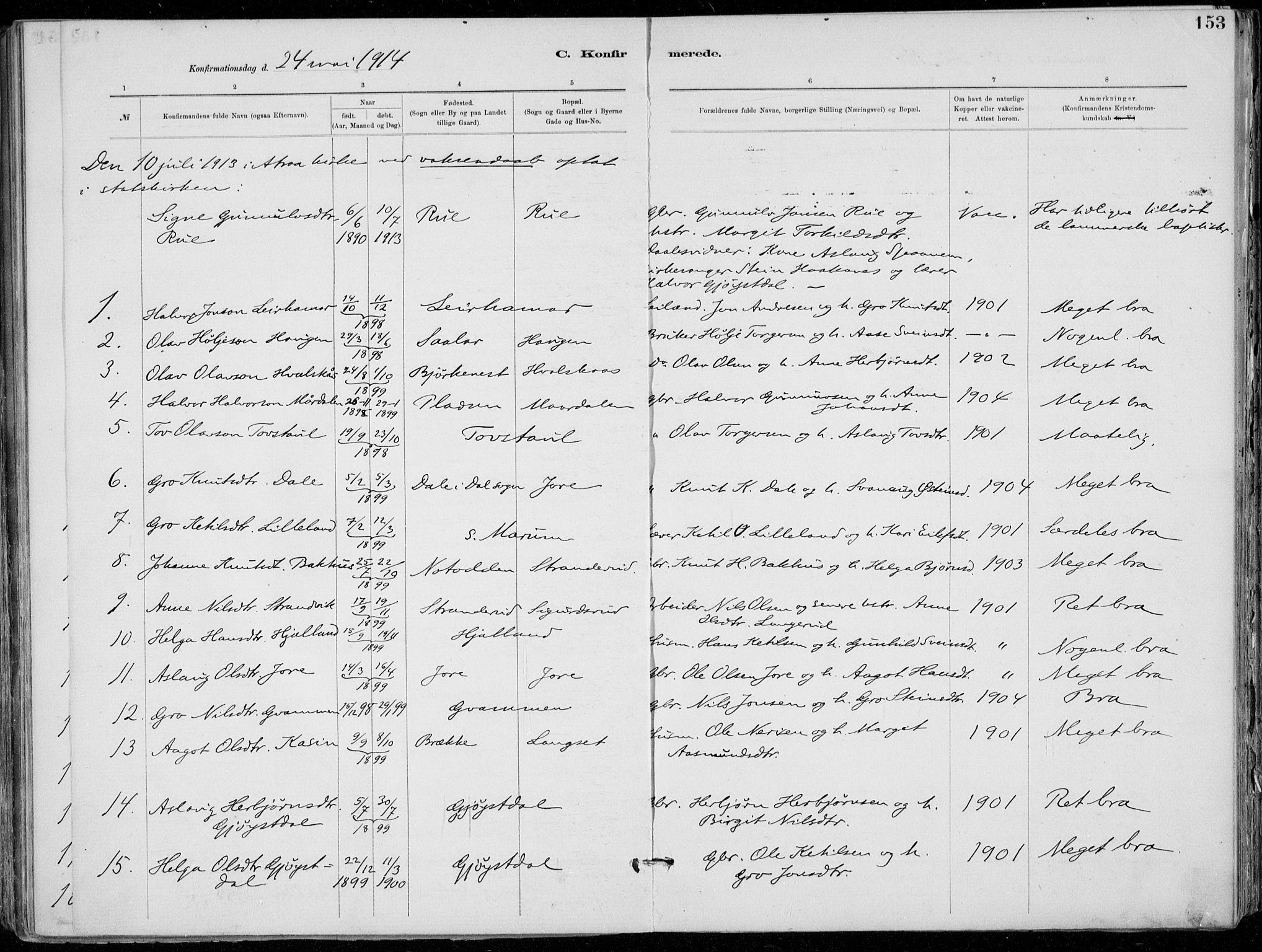 SAKO, Tinn kirkebøker, F/Fa/L0007: Ministerialbok nr. I 7, 1878-1922, s. 153