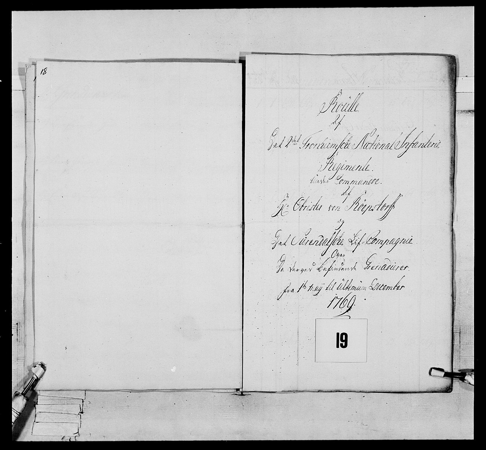 RA, Generalitets- og kommissariatskollegiet, Det kongelige norske kommissariatskollegium, E/Eh/L0076: 2. Trondheimske nasjonale infanteriregiment, 1766-1773, s. 38