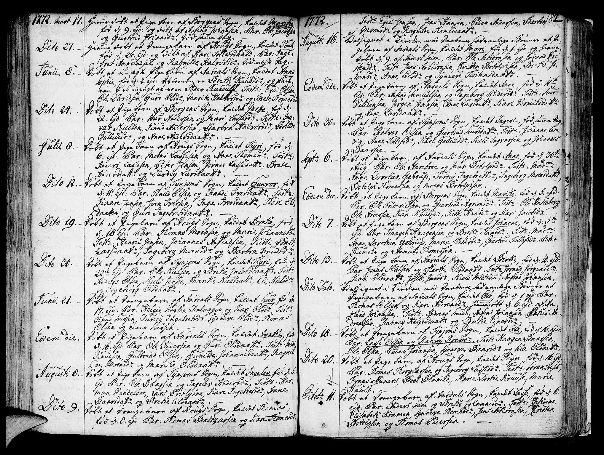SAB, Lærdal sokneprestembete, Ministerialbok nr. A 2, 1752-1782, s. 182