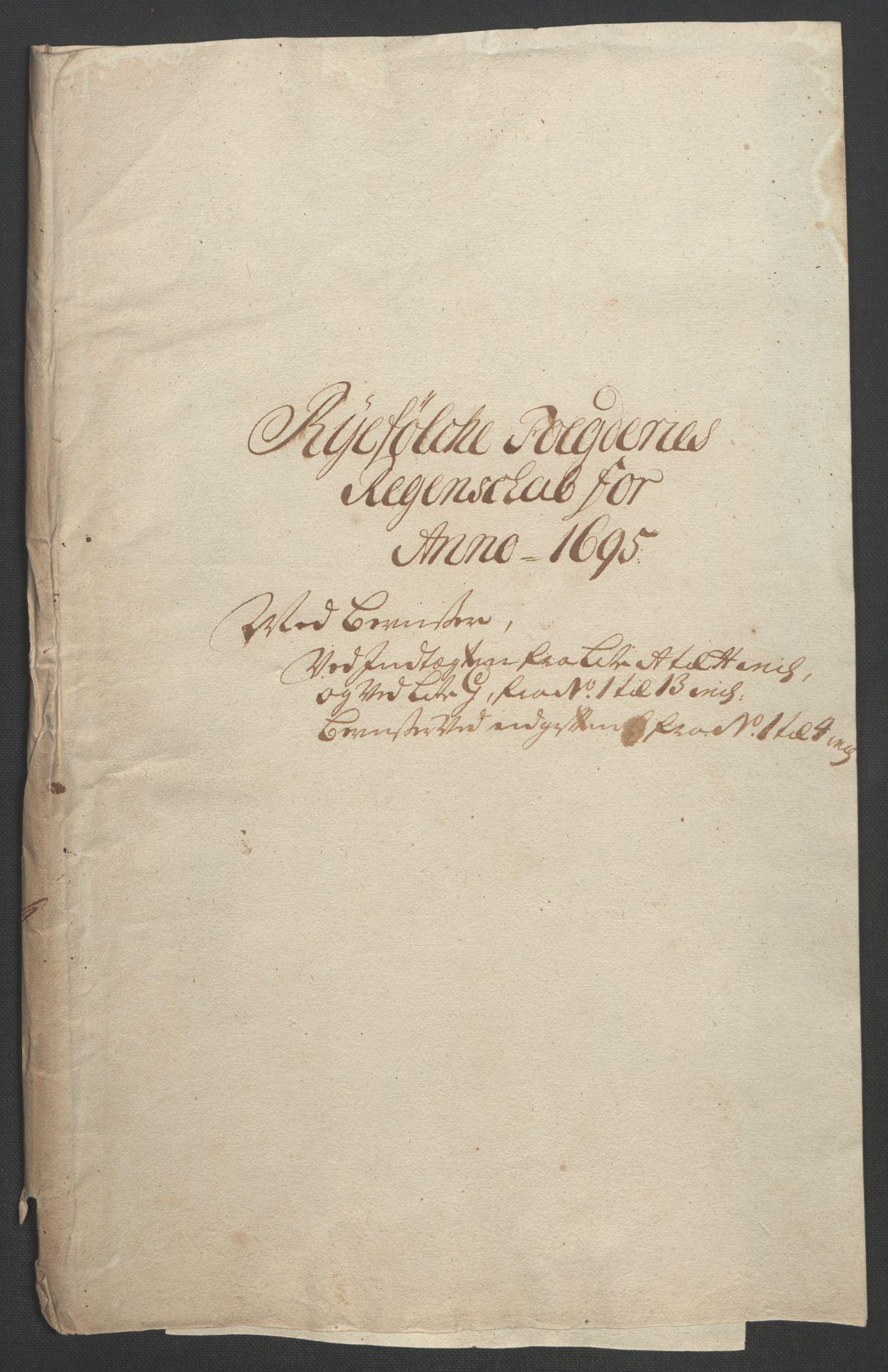 RA, Rentekammeret inntil 1814, Reviderte regnskaper, Fogderegnskap, R47/L2857: Fogderegnskap Ryfylke, 1694-1696, s. 178
