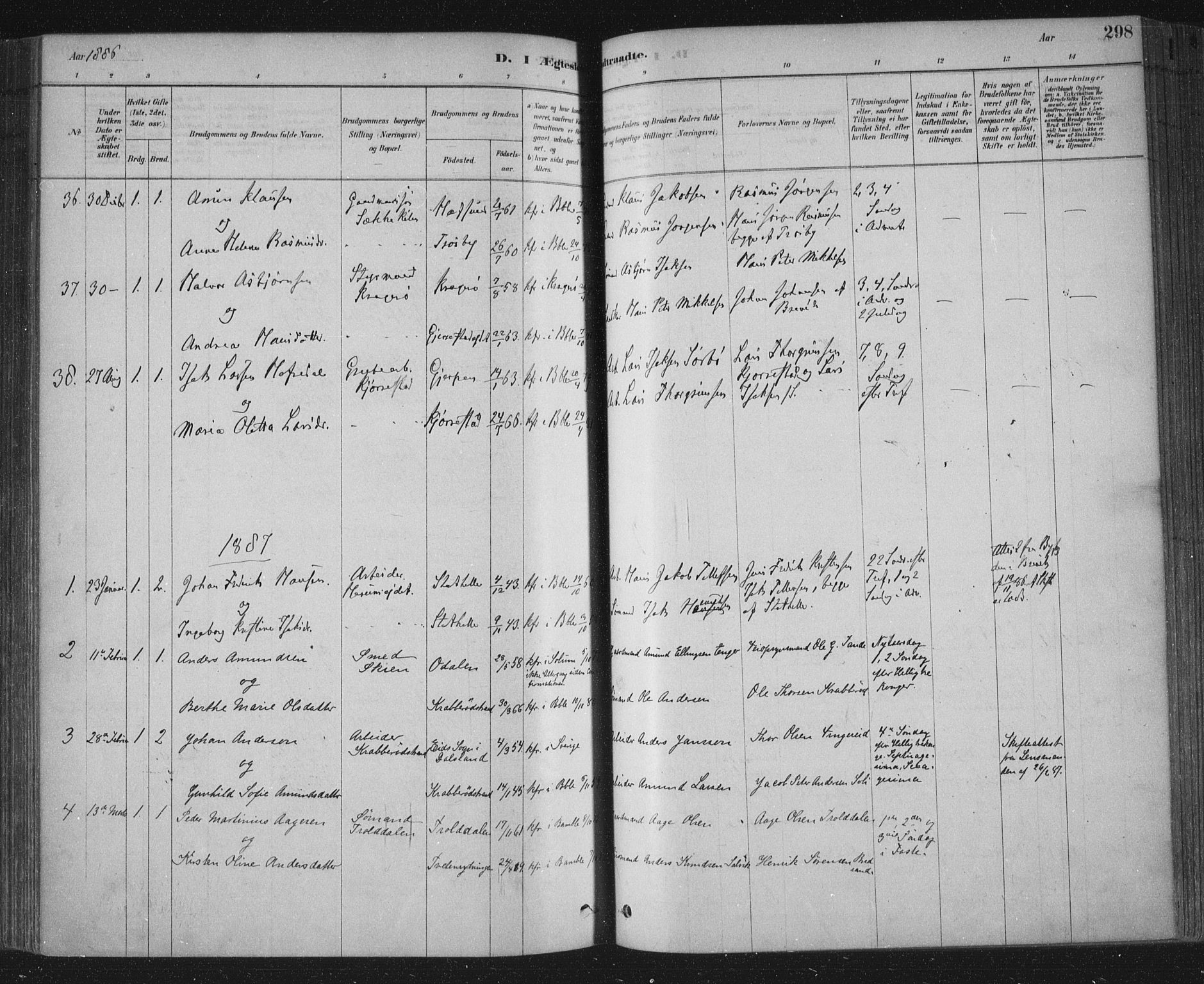 SAKO, Bamble kirkebøker, F/Fa/L0007: Ministerialbok nr. I 7, 1878-1888, s. 298