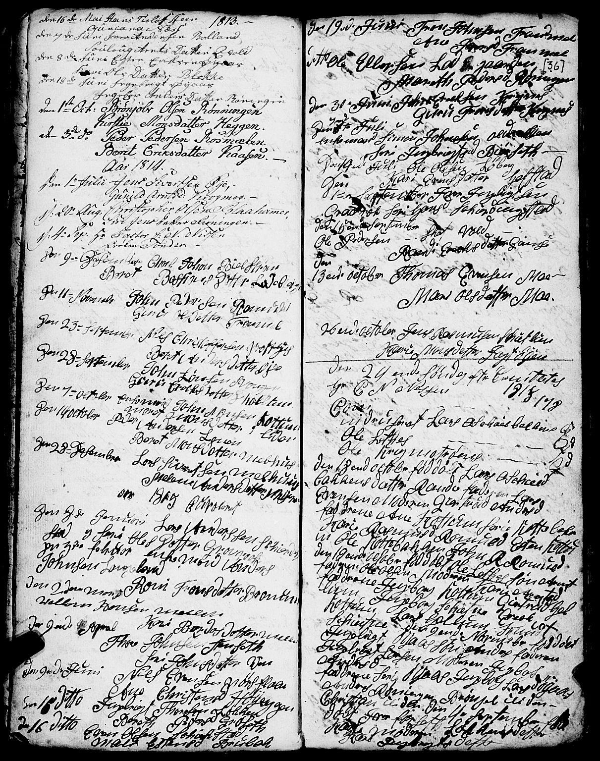 SAT, Ministerialprotokoller, klokkerbøker og fødselsregistre - Sør-Trøndelag, 691/L1091: Klokkerbok nr. 691C02, 1802-1815, s. 36