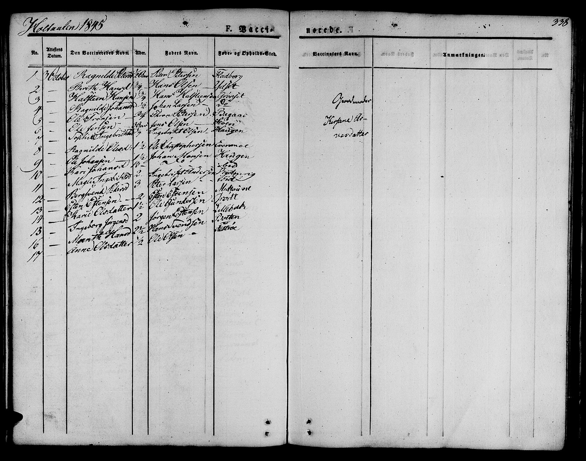 SAT, Ministerialprotokoller, klokkerbøker og fødselsregistre - Sør-Trøndelag, 685/L0960: Ministerialbok nr. 685A05 /1, 1829-1845, s. 338