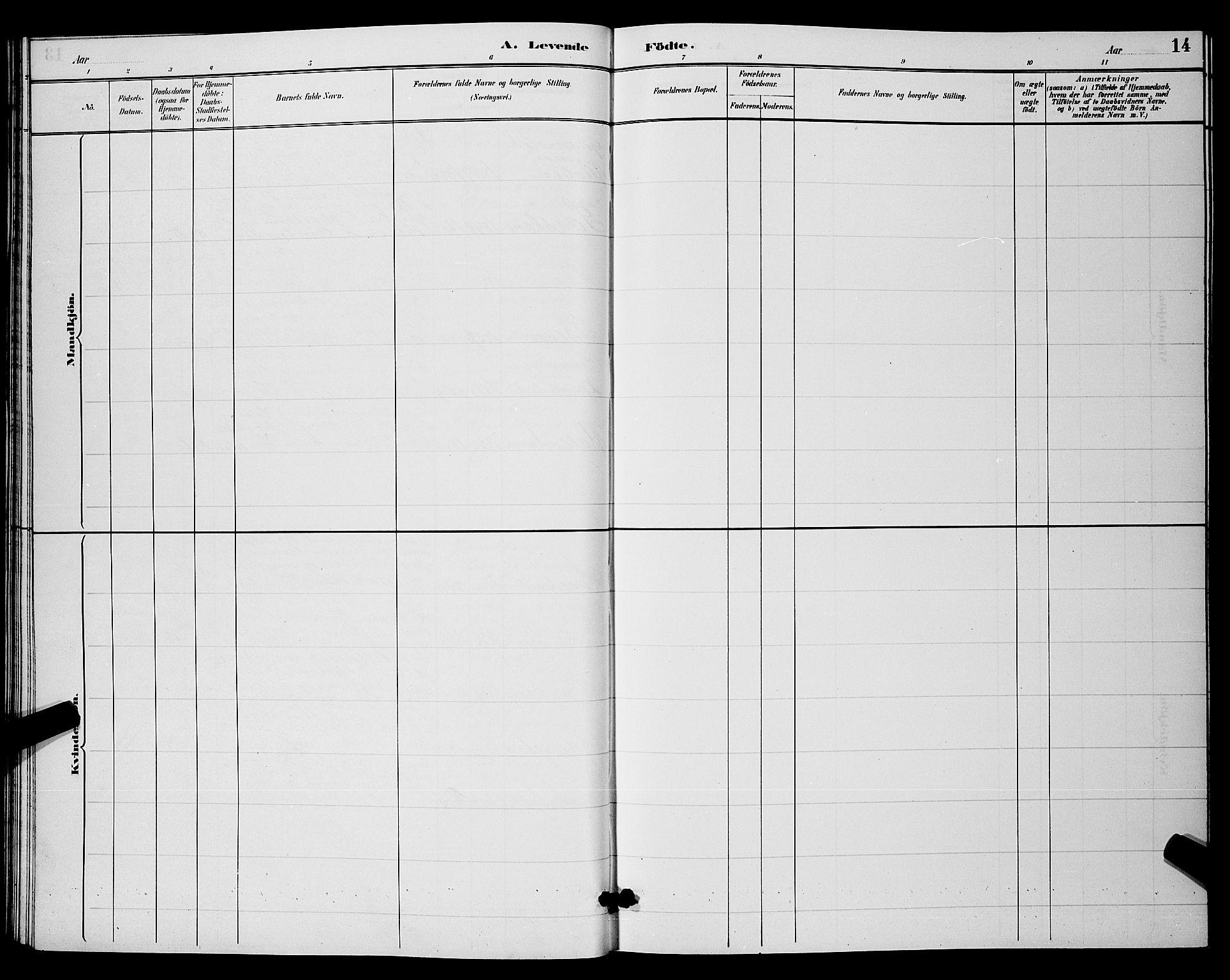 SAKO, Hjartdal kirkebøker, G/Ga/L0003: Klokkerbok nr. I 3, 1889-1896, s. 14