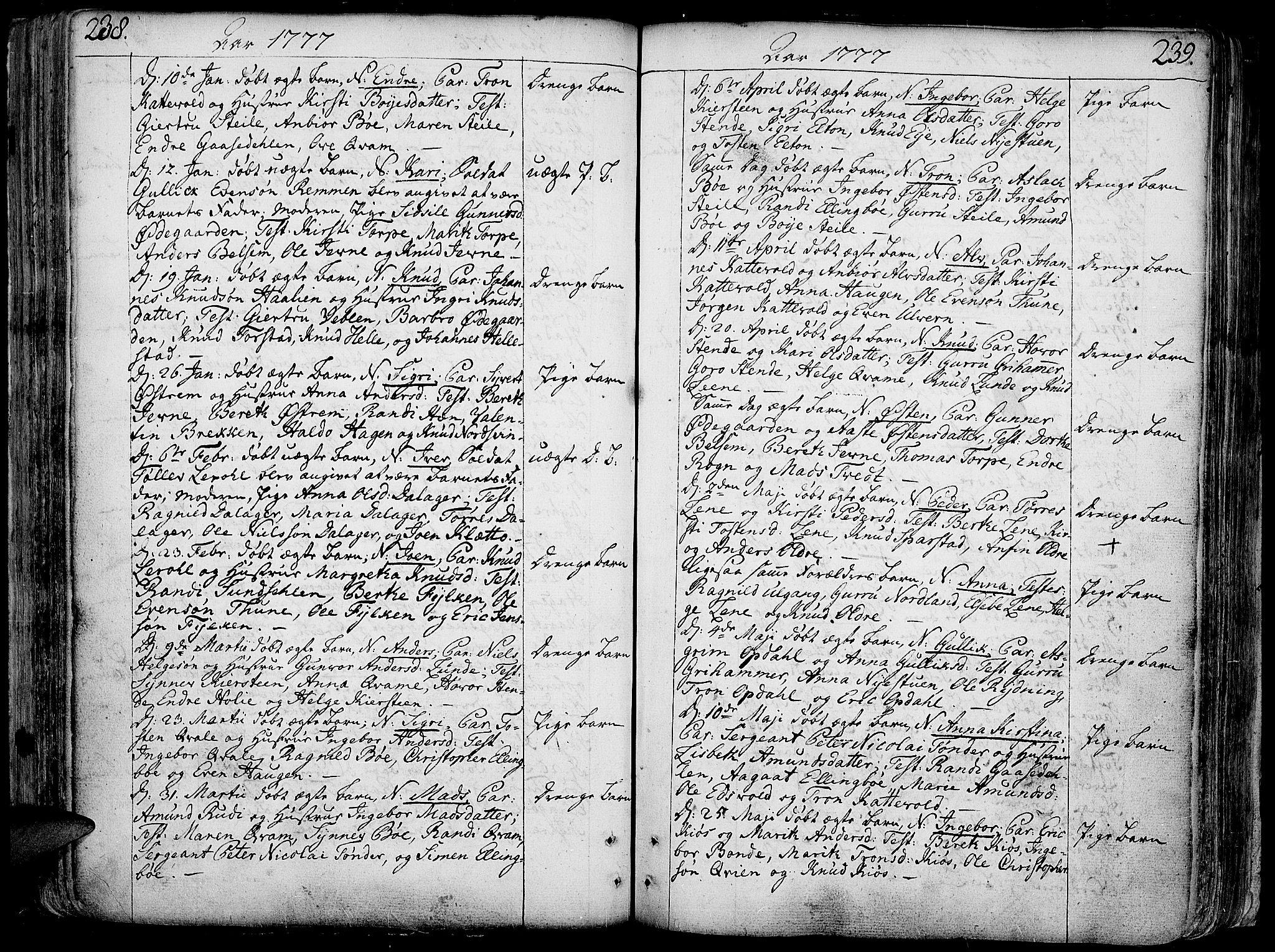 SAH, Vang prestekontor, Valdres, Ministerialbok nr. 1, 1730-1796, s. 238-239