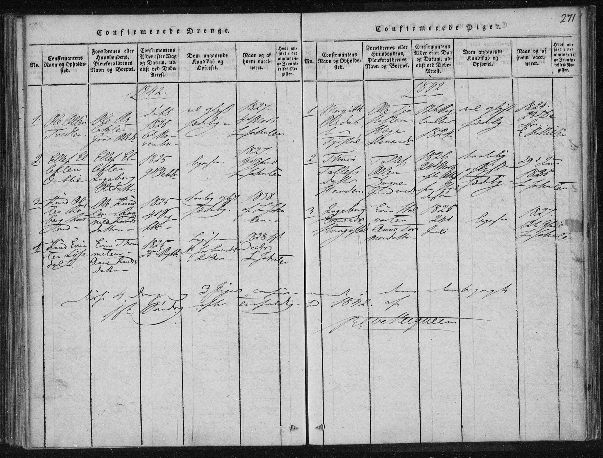 SAKO, Lårdal kirkebøker, F/Fc/L0001: Ministerialbok nr. III 1, 1815-1860, s. 271