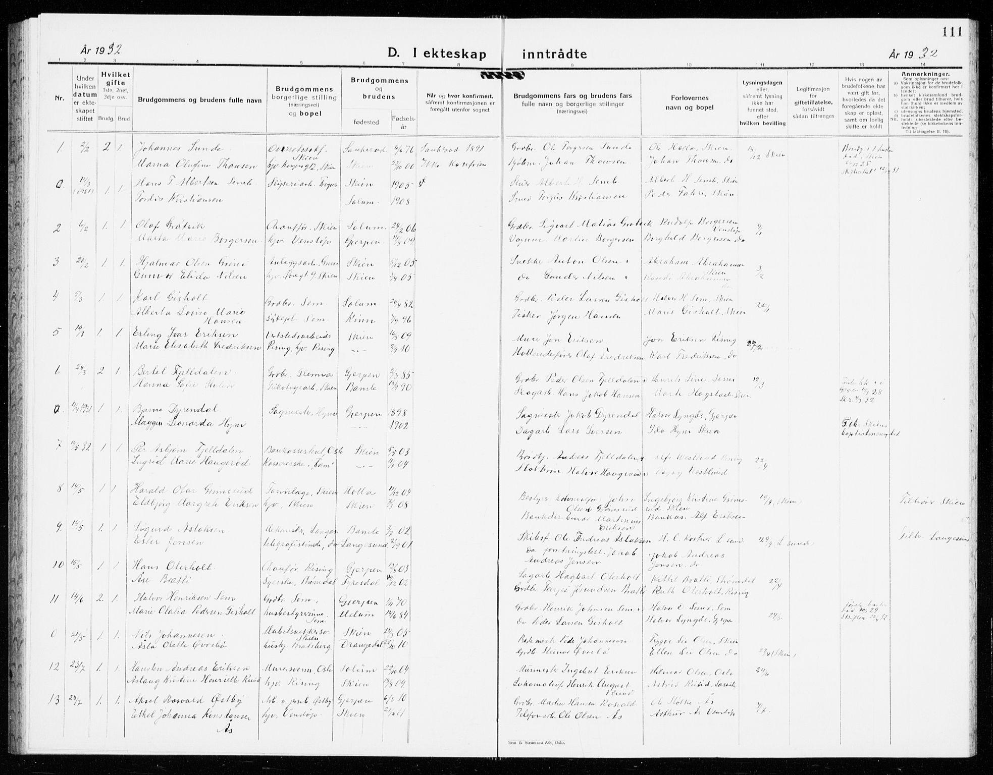 SAKO, Gjerpen kirkebøker, G/Ga/L0005: Klokkerbok nr. I 5, 1932-1940, s. 111
