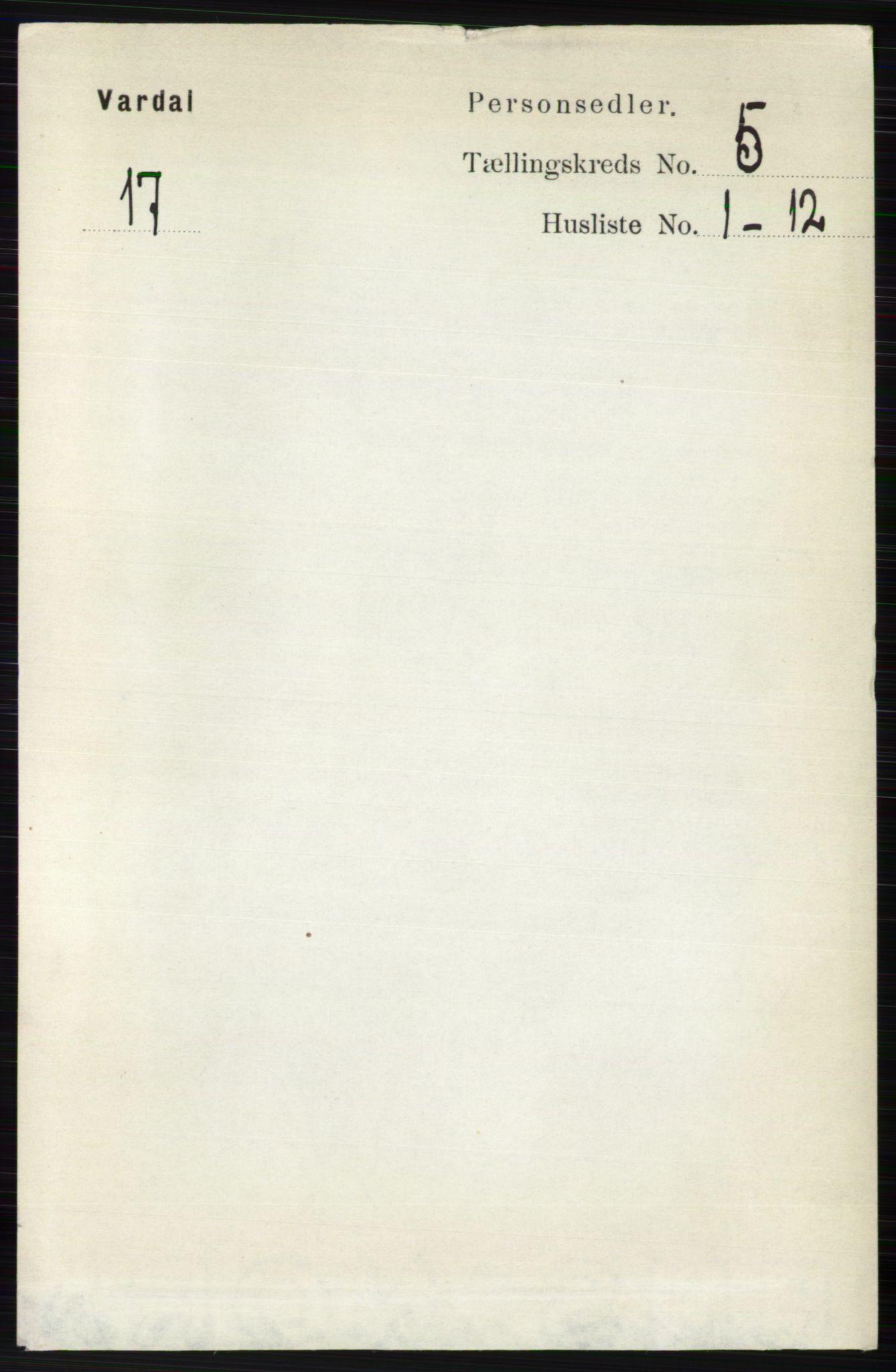 RA, Folketelling 1891 for 0527 Vardal herred, 1891, s. 2158