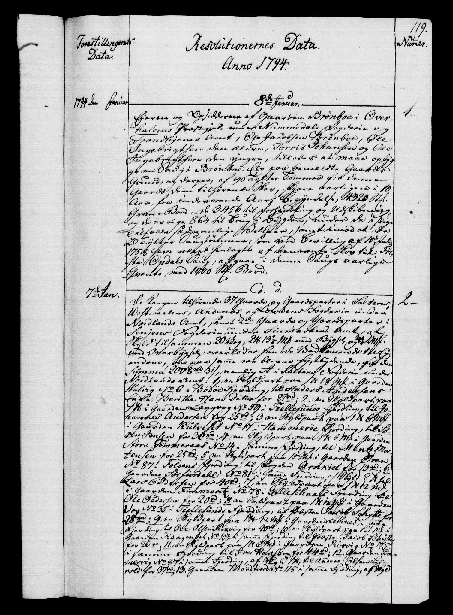 RA, Rentekammeret, Kammerkanselliet, G/Gf/Gfb/L0014: Register til norske relasjons- og resolusjonsprotokoller (merket RK 52.109), 1794-1796, s. 119