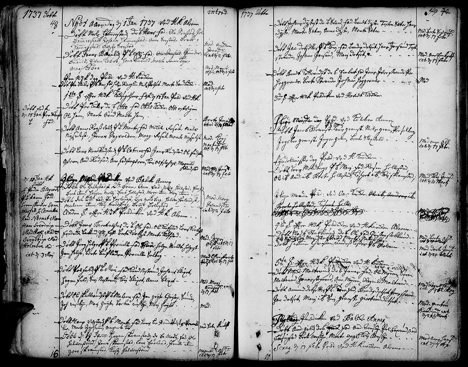 SAH, Toten prestekontor, Ministerialbok nr. 3, 1734-1751, s. 48-49