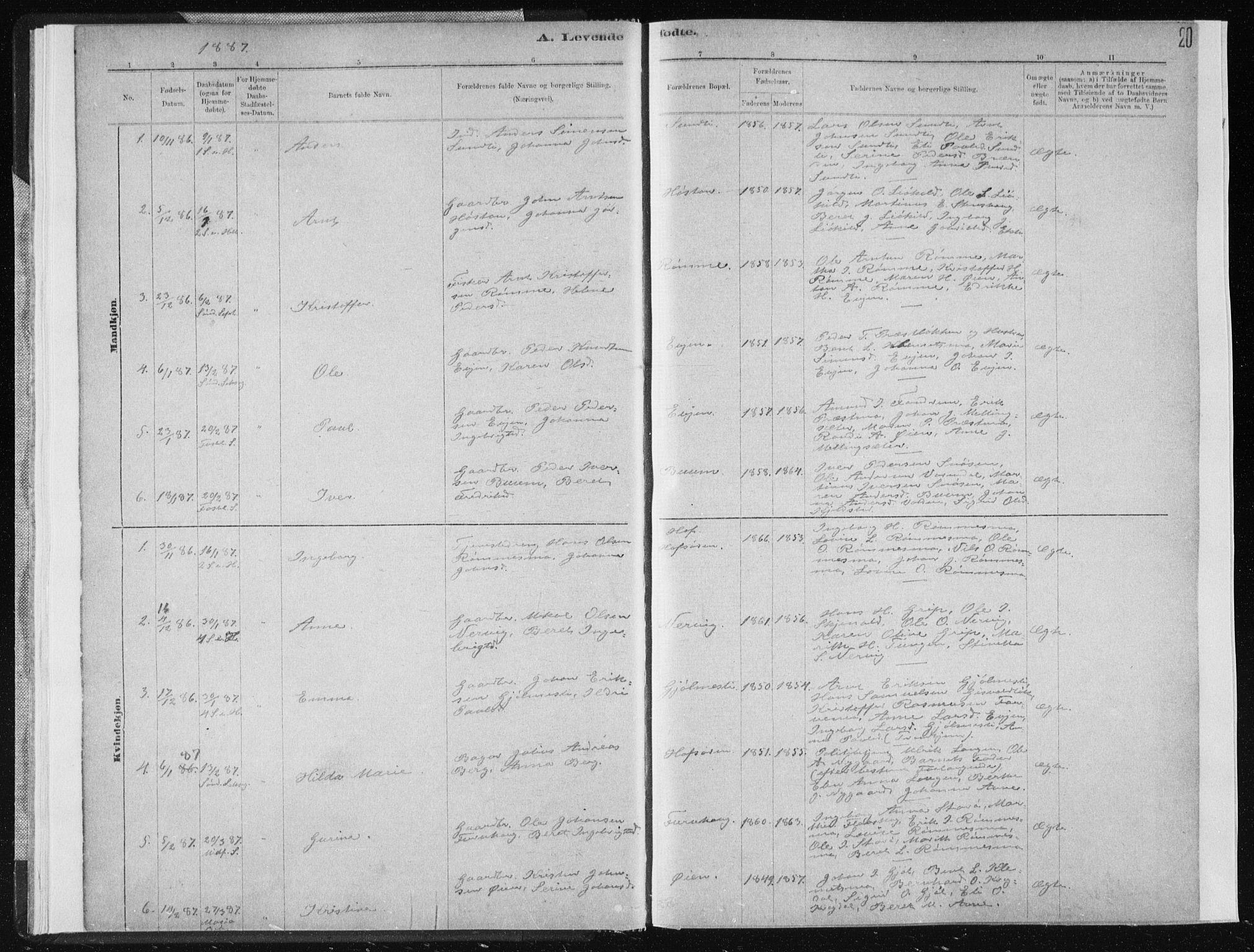 SAT, Ministerialprotokoller, klokkerbøker og fødselsregistre - Sør-Trøndelag, 668/L0818: Klokkerbok nr. 668C07, 1885-1898, s. 20