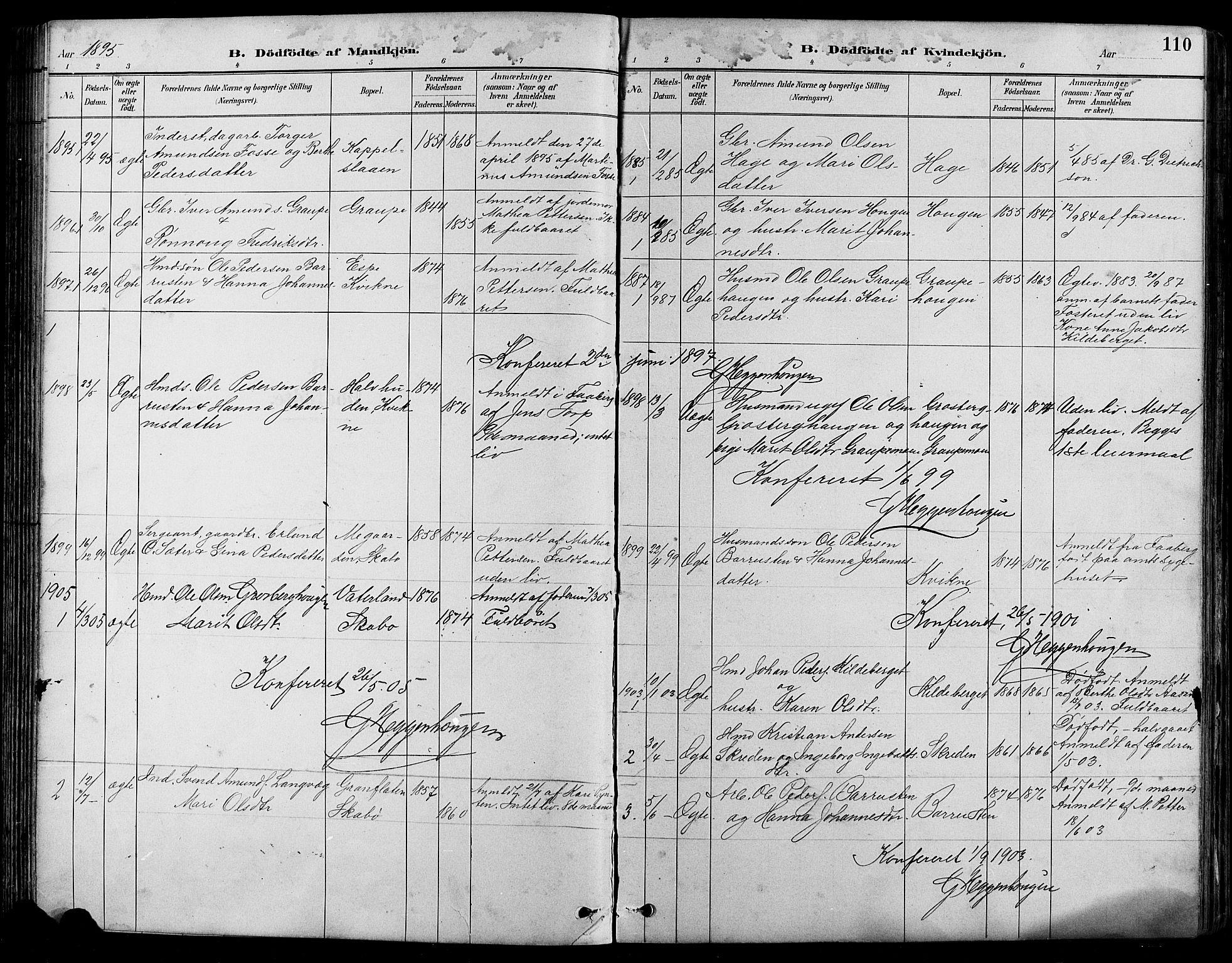 SAH, Nord-Fron prestekontor, Klokkerbok nr. 5, 1884-1914, s. 110