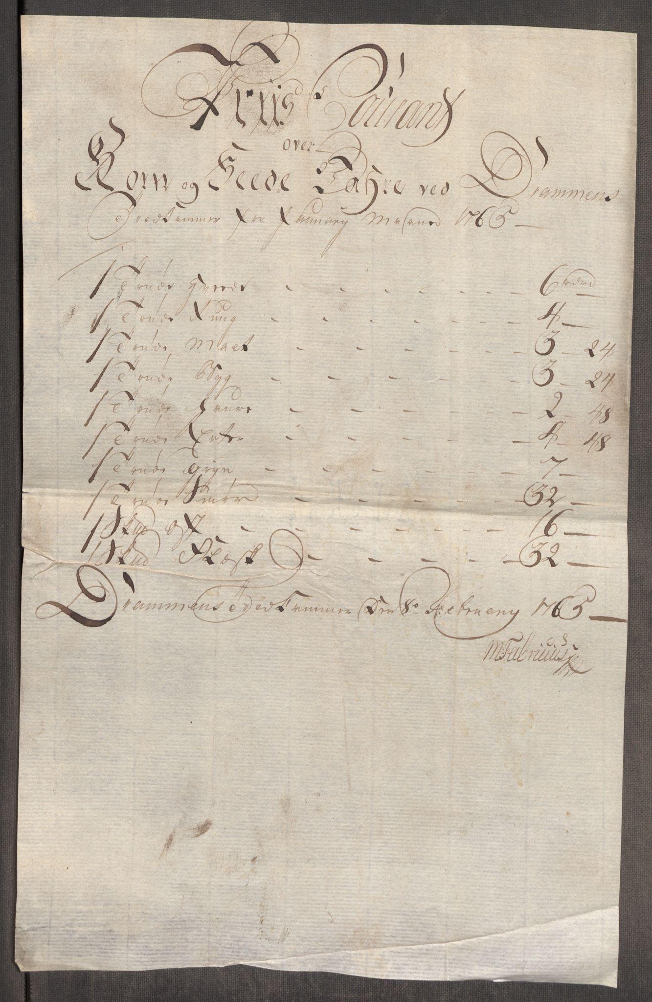 RA, Rentekammeret inntil 1814, Realistisk ordnet avdeling, Oe/L0008: [Ø1]: Priskuranter, 1764-1768, s. 359