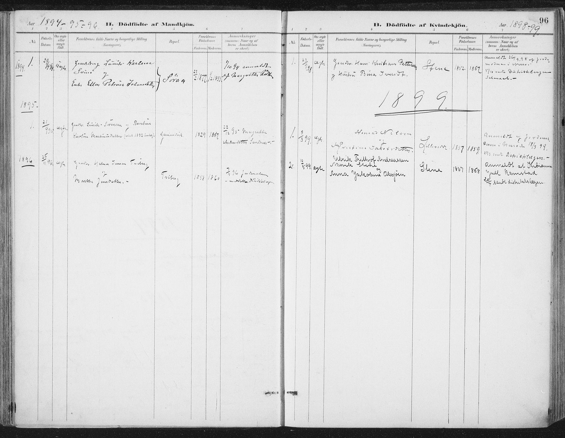 SAT, Ministerialprotokoller, klokkerbøker og fødselsregistre - Nord-Trøndelag, 784/L0673: Ministerialbok nr. 784A08, 1888-1899, s. 96