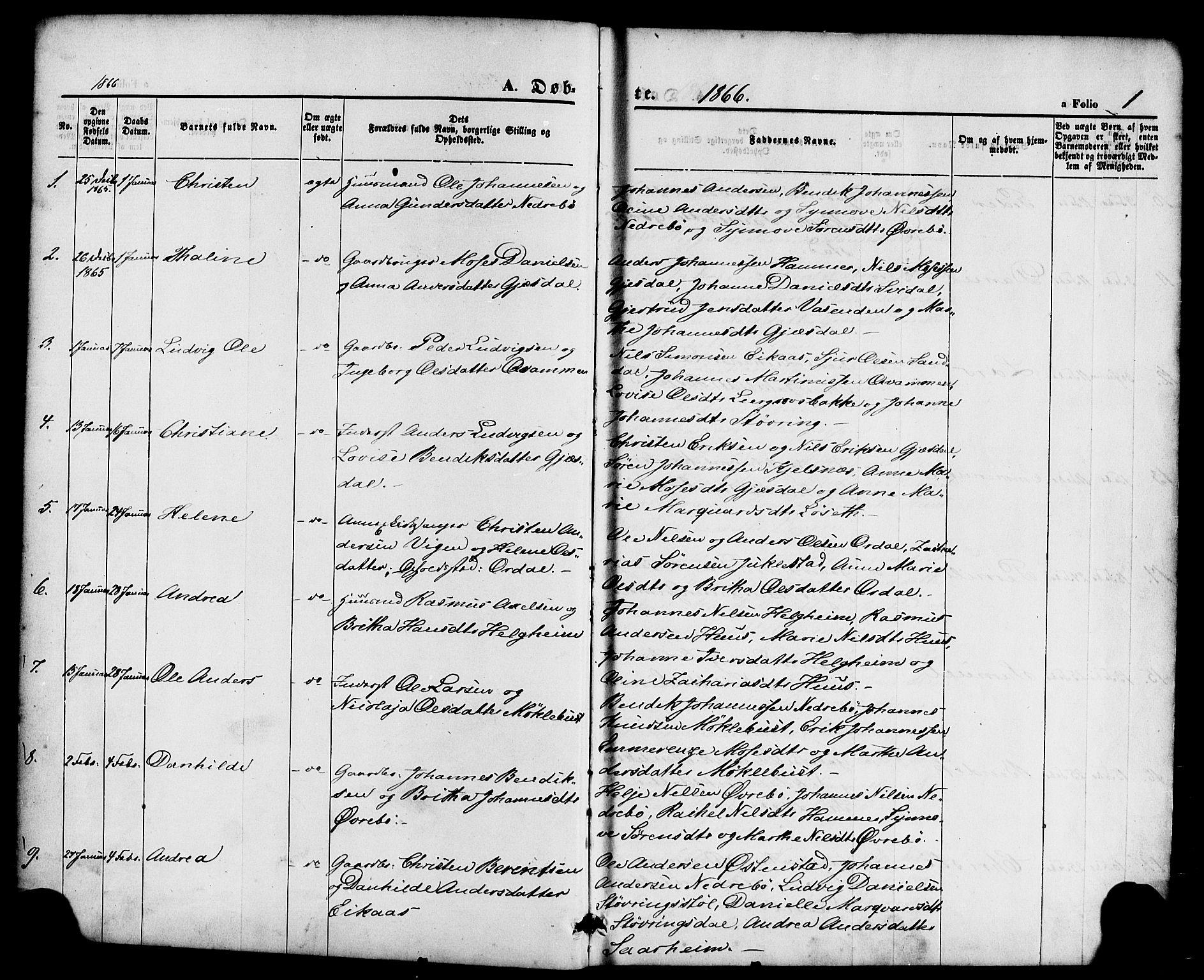 SAB, Jølster Sokneprestembete, Ministerialbok nr. A 11, 1866-1881, s. 1