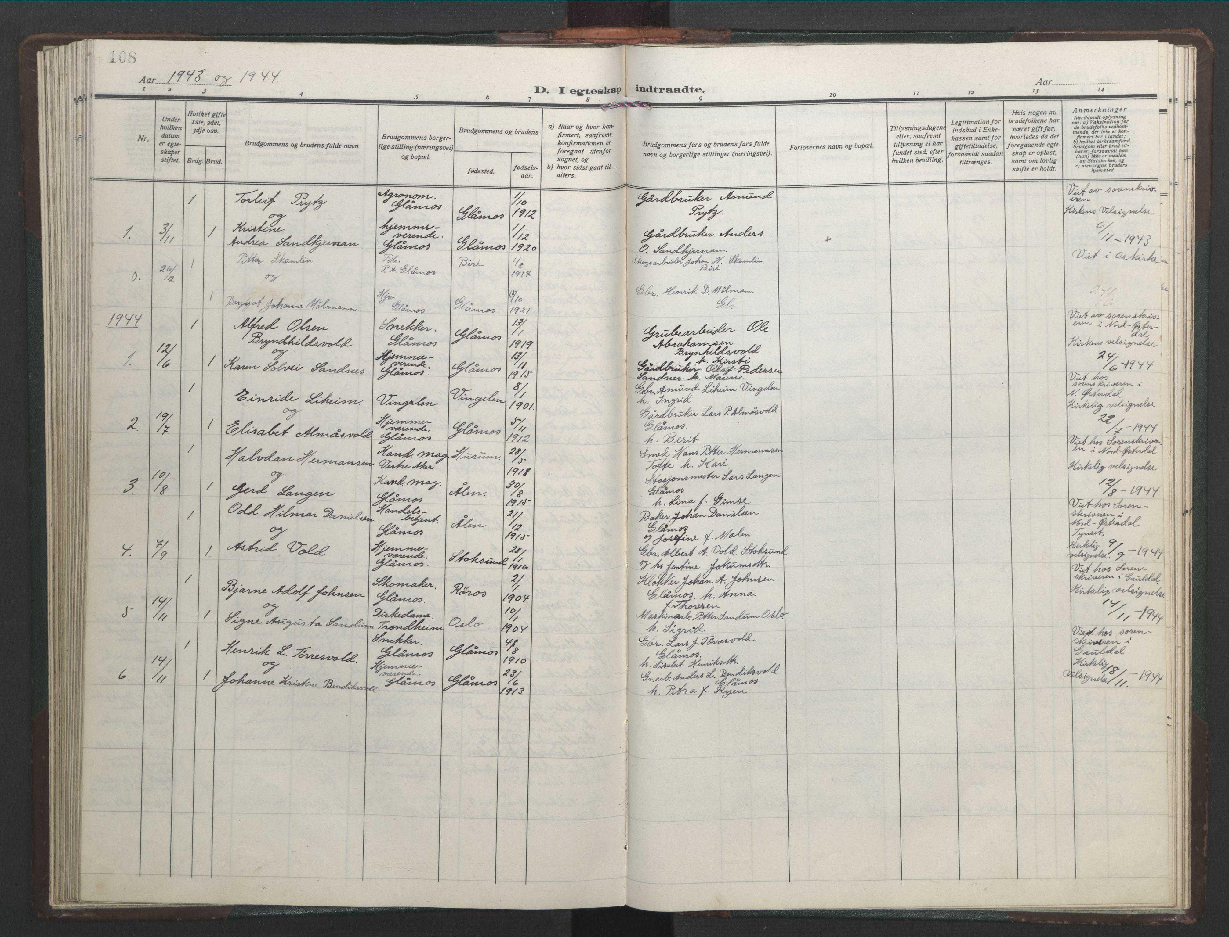 SAT, Ministerialprotokoller, klokkerbøker og fødselsregistre - Sør-Trøndelag, 682/L0947: Klokkerbok nr. 682C01, 1926-1968, s. 108
