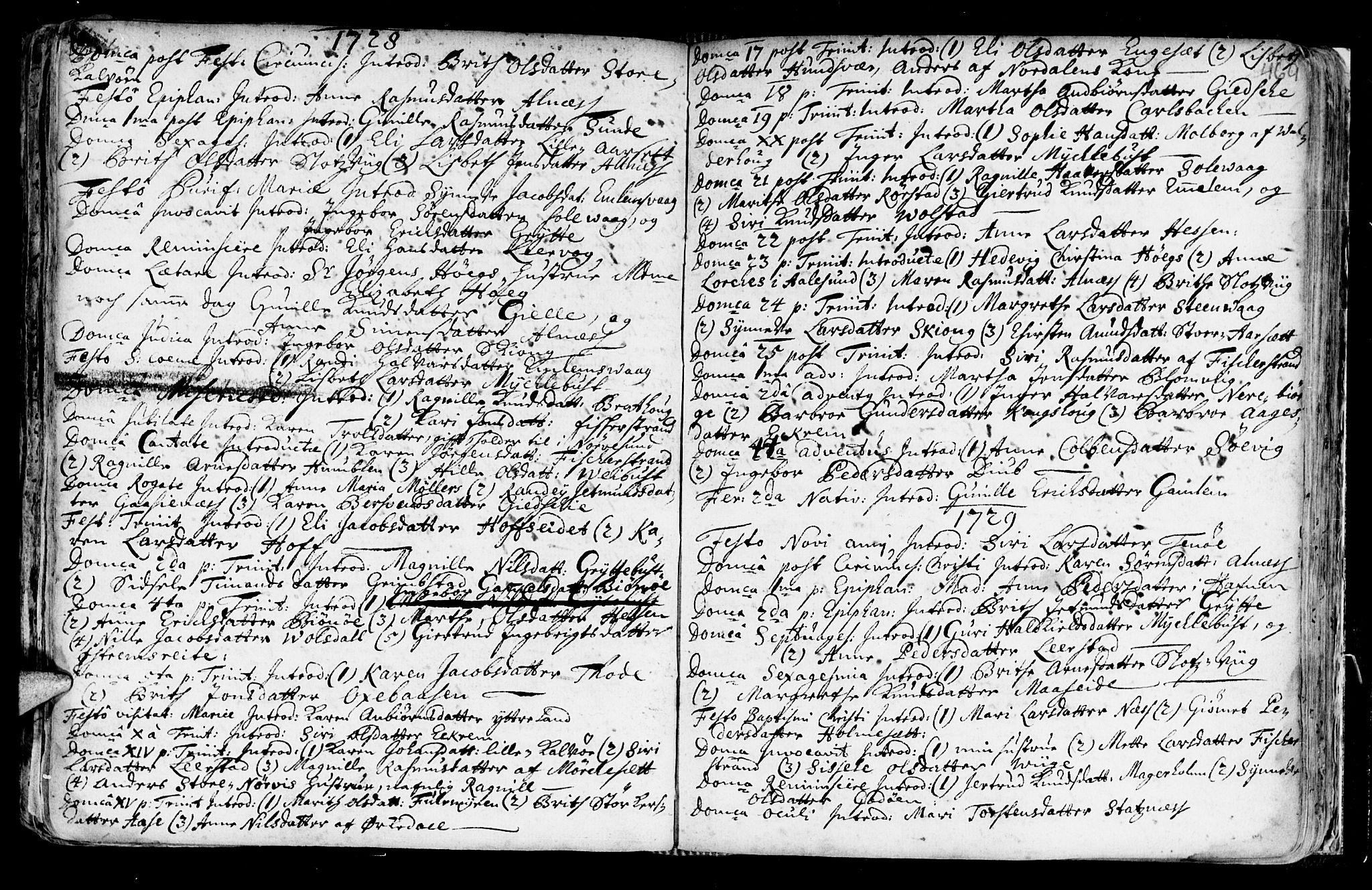 SAT, Ministerialprotokoller, klokkerbøker og fødselsregistre - Møre og Romsdal, 528/L0390: Ministerialbok nr. 528A01, 1698-1739, s. 468-469