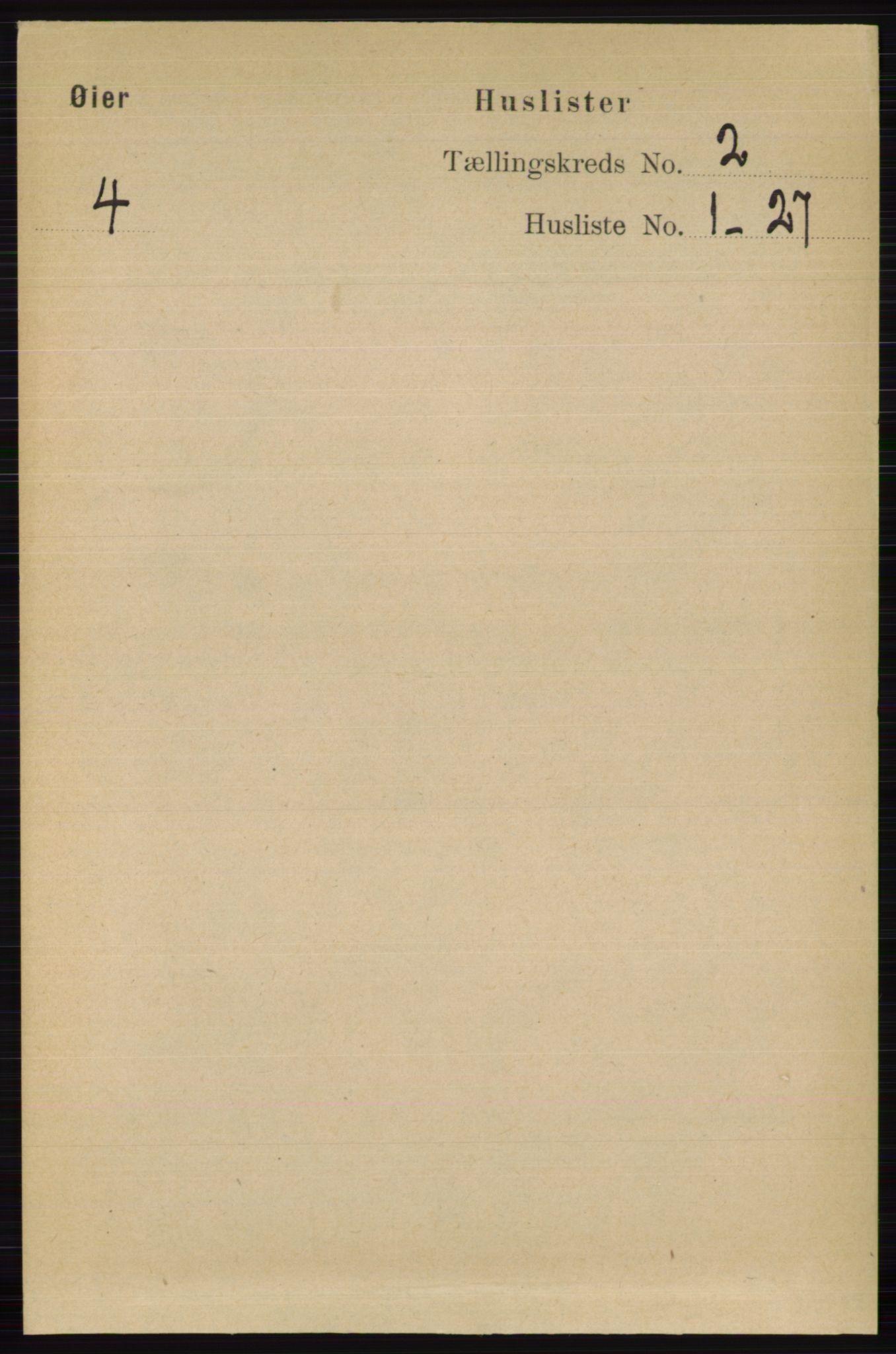 RA, Folketelling 1891 for 0521 Øyer herred, 1891, s. 453