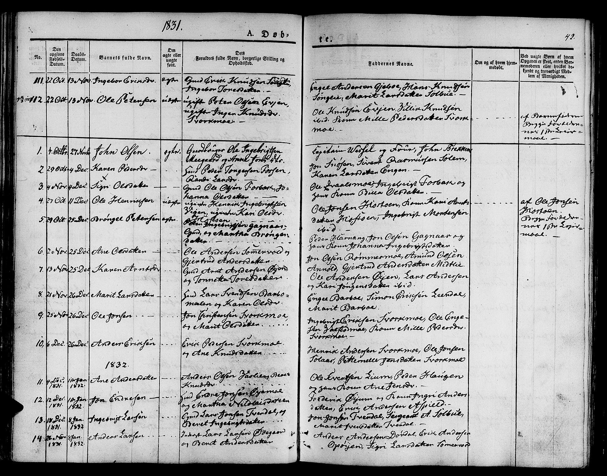 SAT, Ministerialprotokoller, klokkerbøker og fødselsregistre - Sør-Trøndelag, 668/L0804: Ministerialbok nr. 668A04, 1826-1839, s. 42