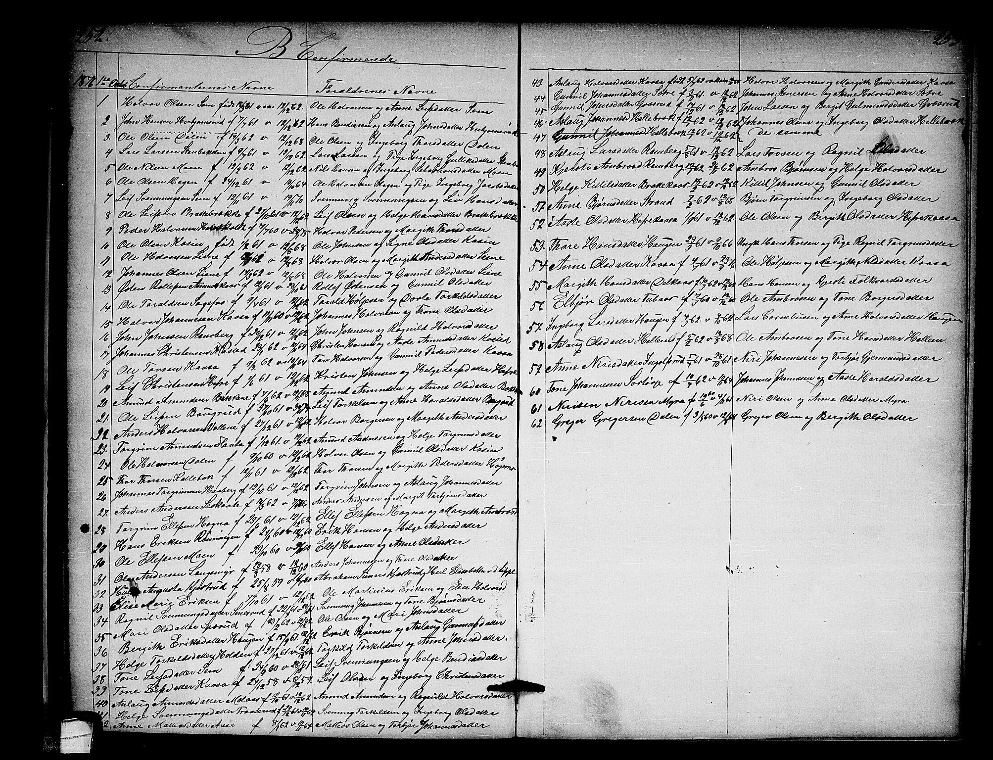 SAKO, Heddal kirkebøker, G/Ga/L0001: Klokkerbok nr. I 1, 1866-1878, s. 252-253