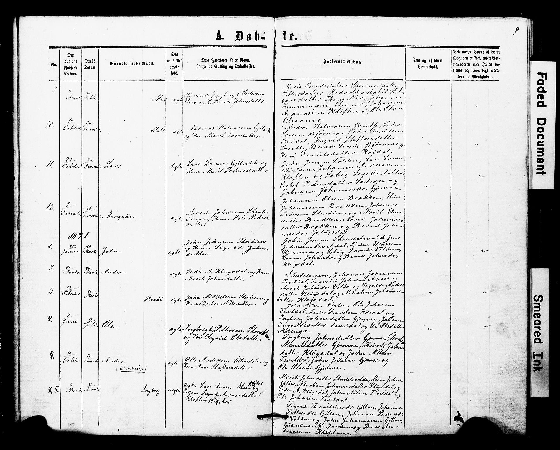 SAT, Ministerialprotokoller, klokkerbøker og fødselsregistre - Nord-Trøndelag, 707/L0052: Klokkerbok nr. 707C01, 1864-1897, s. 9