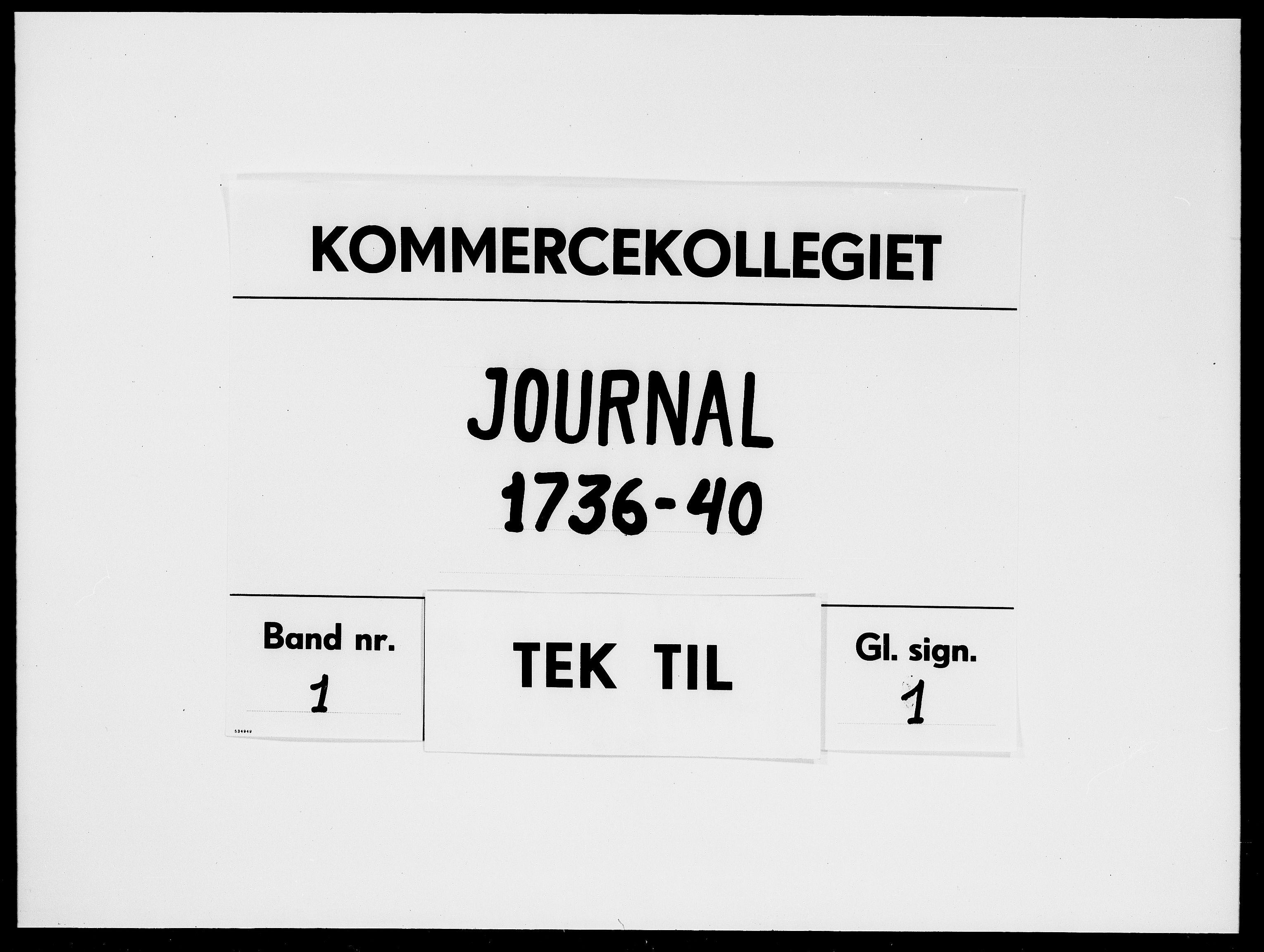 DRA, Kommercekollegiet, Dansk-Norske Sekretariat, -/49: Journal nr. 1, 1736-1740