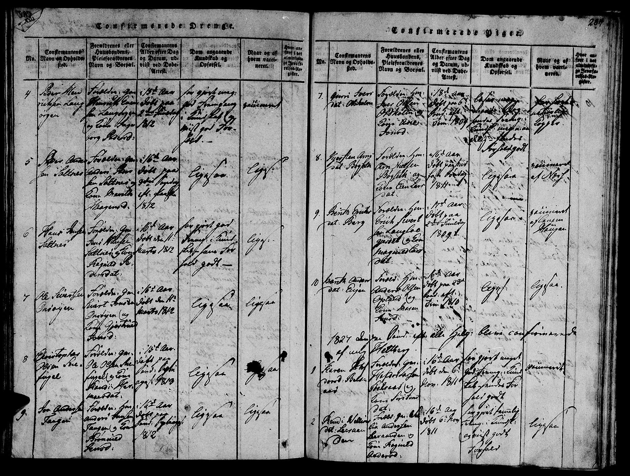SAT, Ministerialprotokoller, klokkerbøker og fødselsregistre - Sør-Trøndelag, 612/L0373: Ministerialbok nr. 612A06 /2, 1816-1828, s. 284