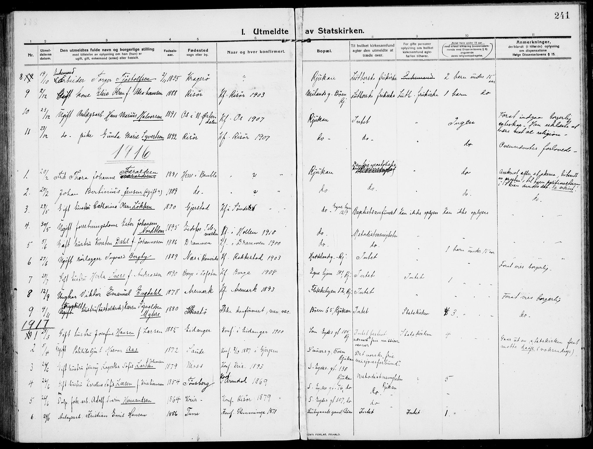 SAKO, Rjukan kirkebøker, F/Fa/L0002: Ministerialbok nr. 2, 1912-1917, s. 241