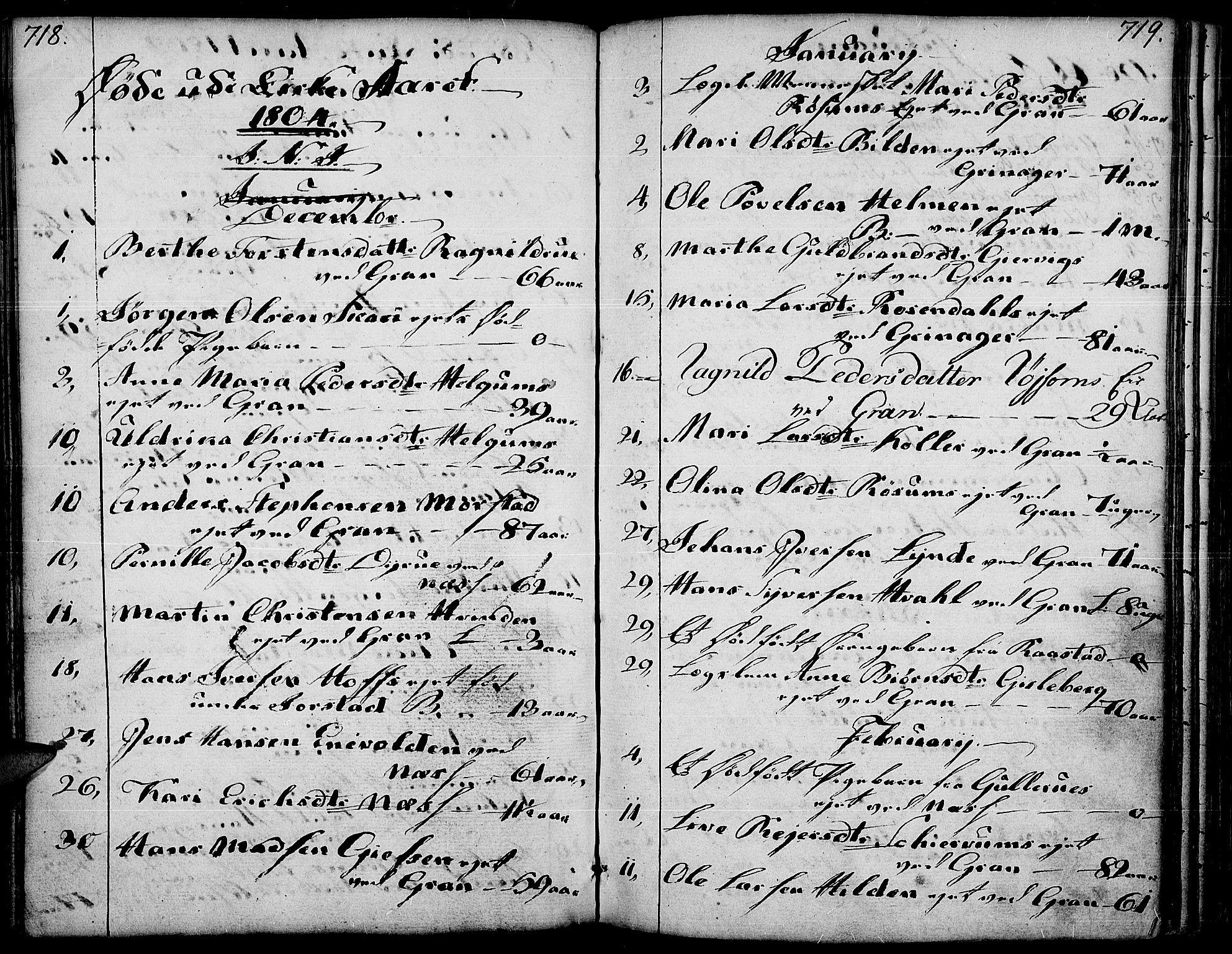 SAH, Gran prestekontor, Ministerialbok nr. 6, 1787-1824, s. 718-719