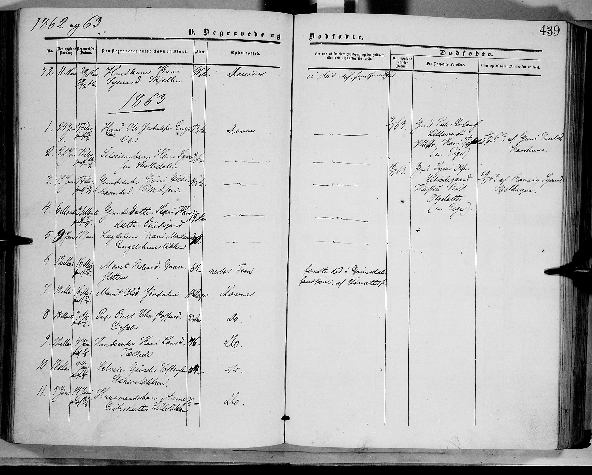 SAH, Dovre prestekontor, Ministerialbok nr. 1, 1854-1878, s. 439