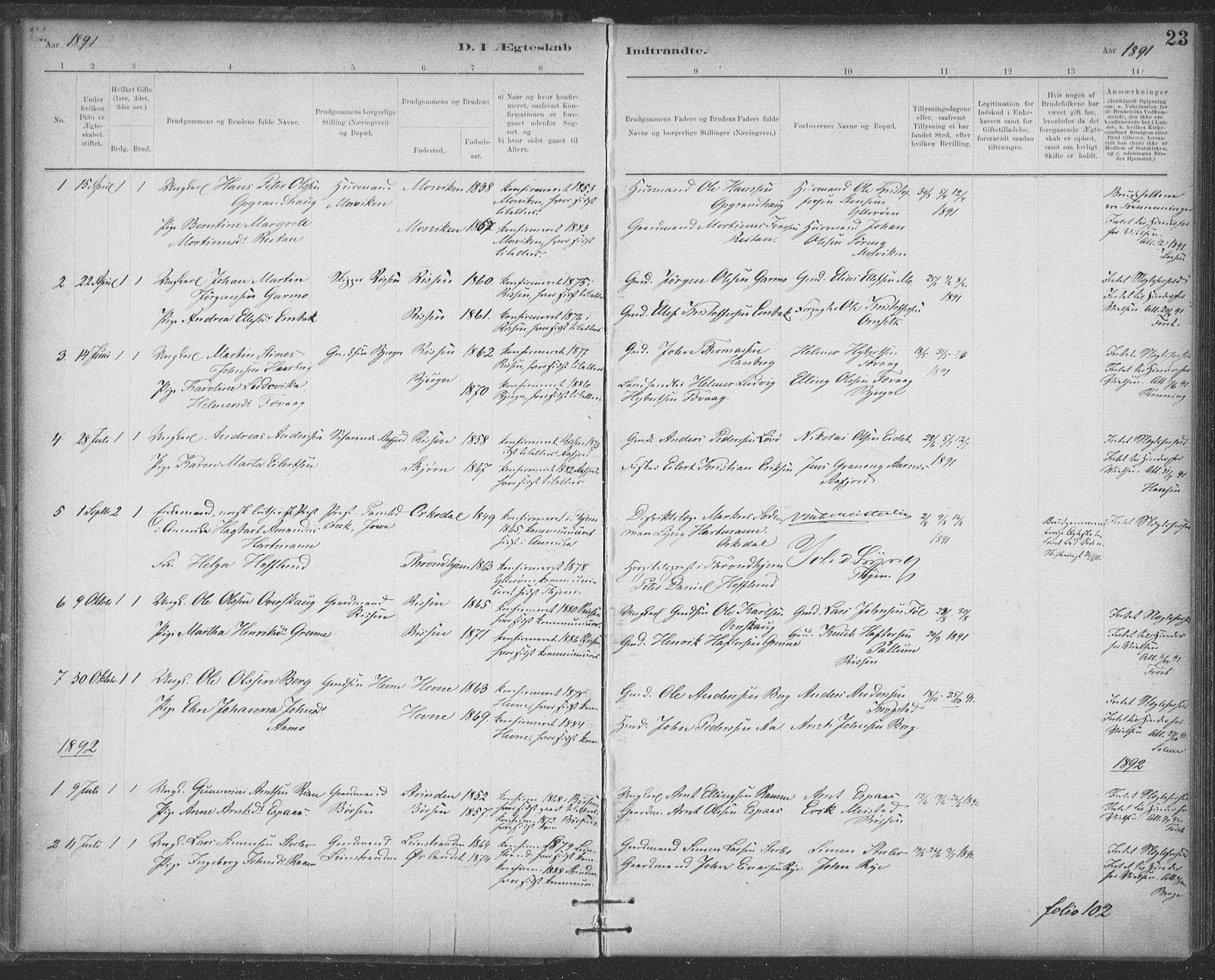 SAT, Ministerialprotokoller, klokkerbøker og fødselsregistre - Sør-Trøndelag, 623/L0470: Ministerialbok nr. 623A04, 1884-1938, s. 23