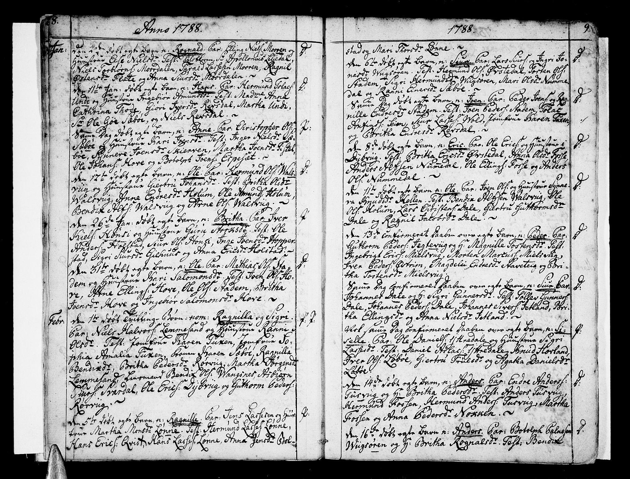 SAB, Vik Sokneprestembete, Ministerialbok nr. A 5, 1787-1820, s. 8-9