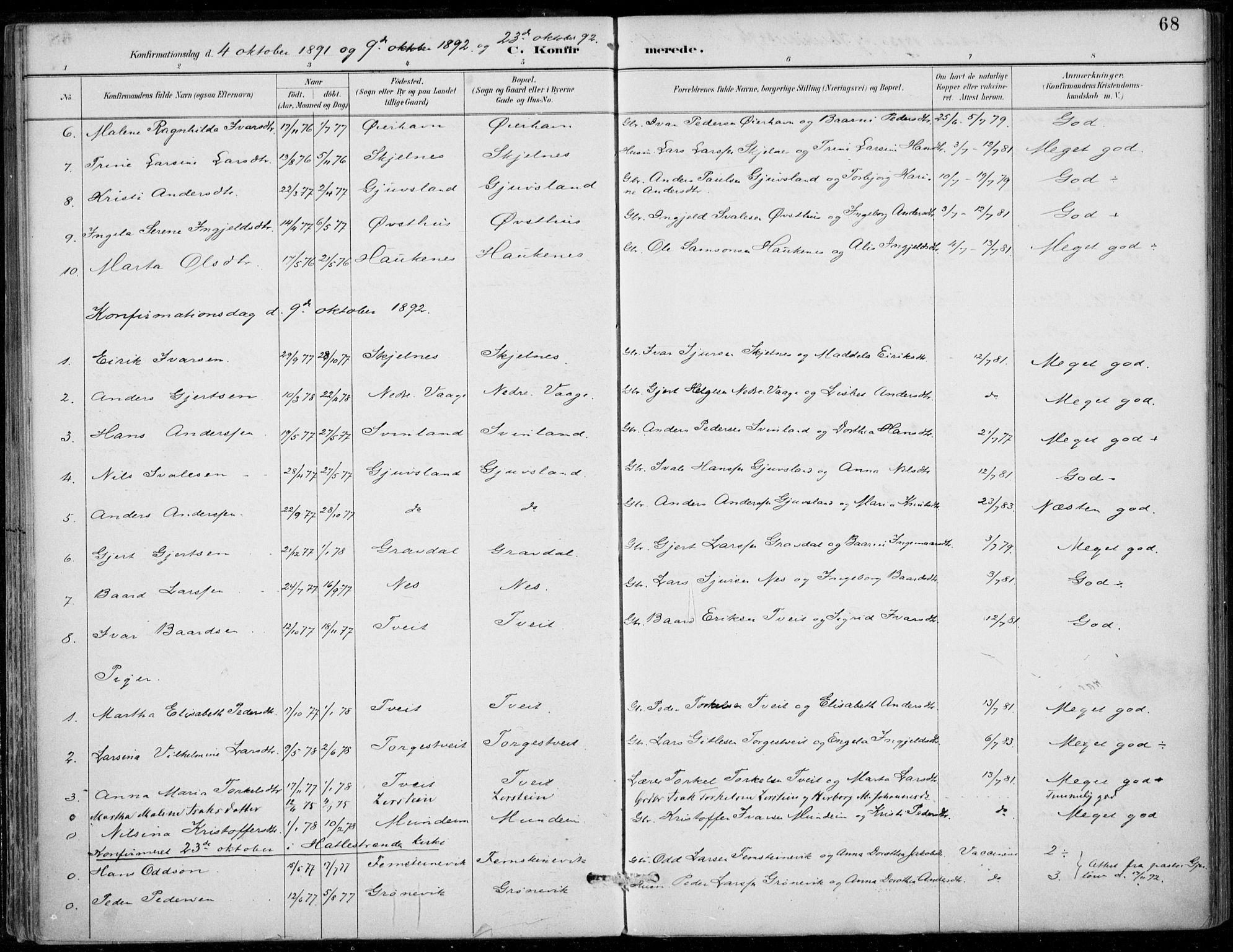 SAB, Strandebarm sokneprestembete, H/Haa: Ministerialbok nr. D  1, 1886-1912, s. 68