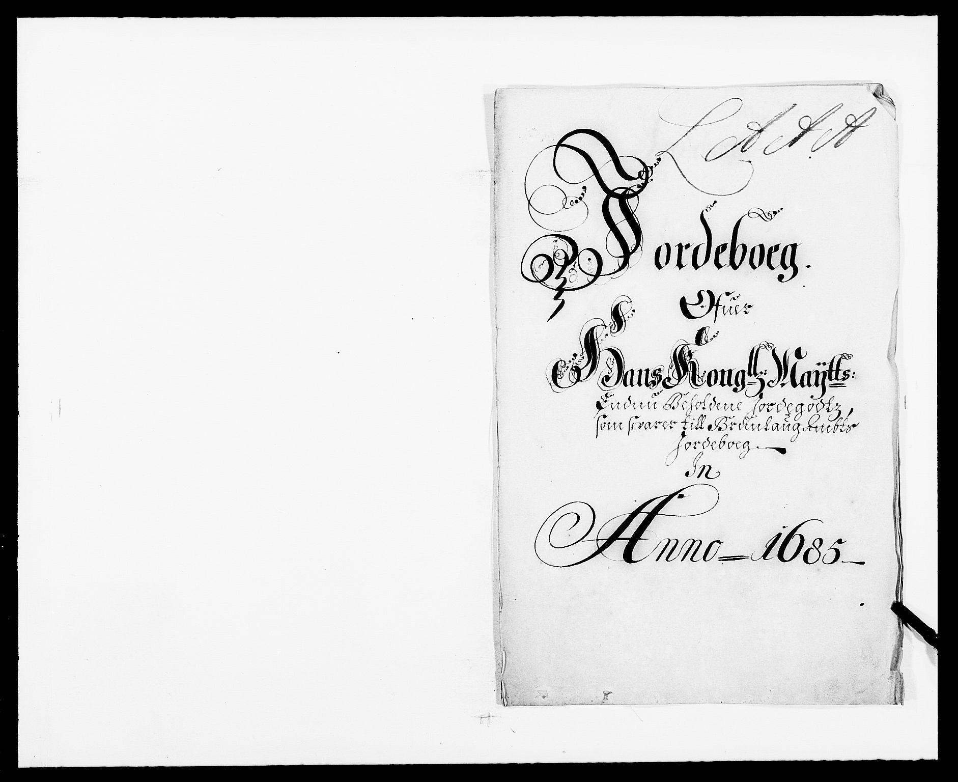 RA, Rentekammeret inntil 1814, Reviderte regnskaper, Fogderegnskap, R33/L1970: Fogderegnskap Larvik grevskap, 1675-1687, s. 1