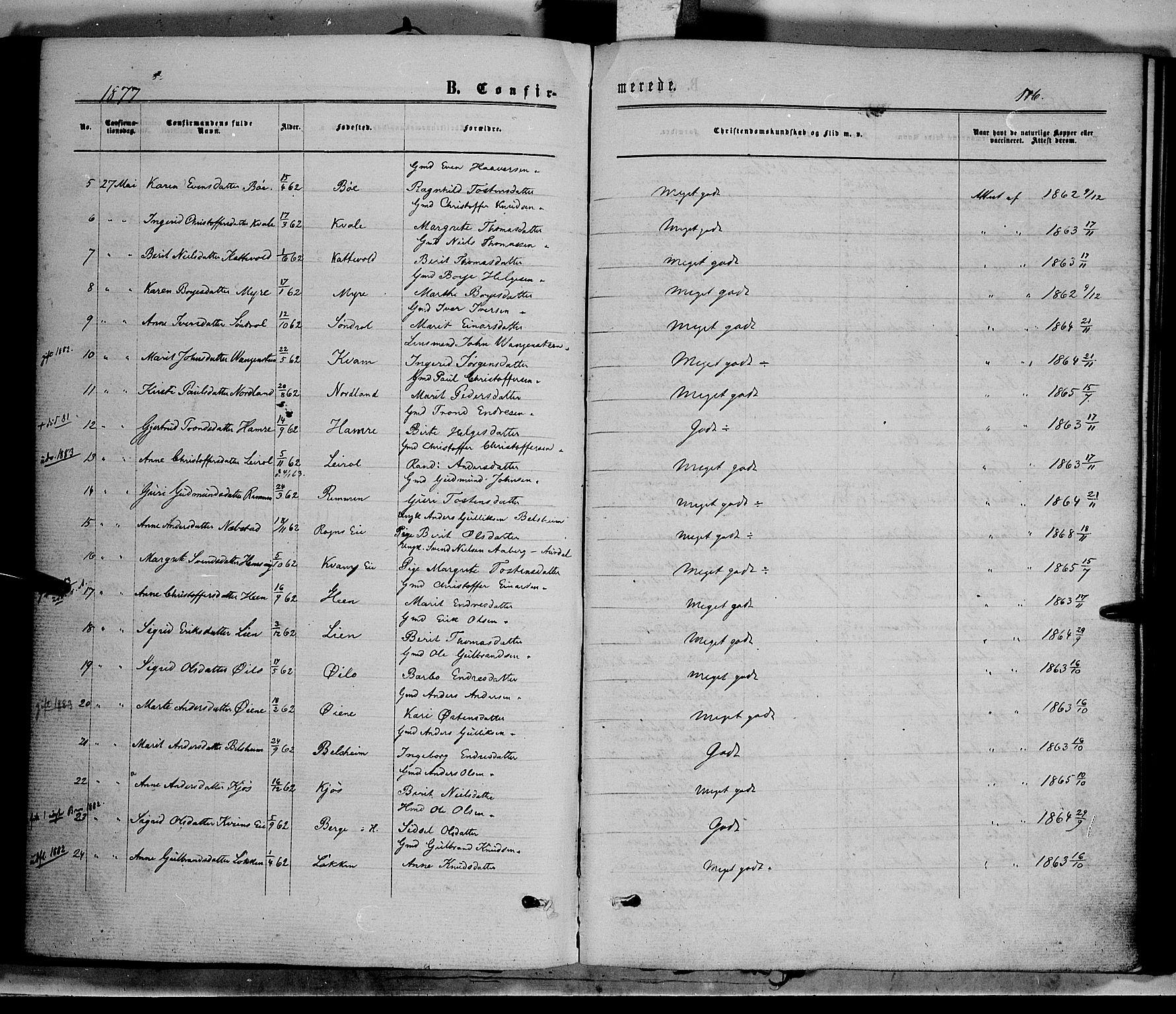 SAH, Vang prestekontor, Valdres, Ministerialbok nr. 7, 1865-1881, s. 116