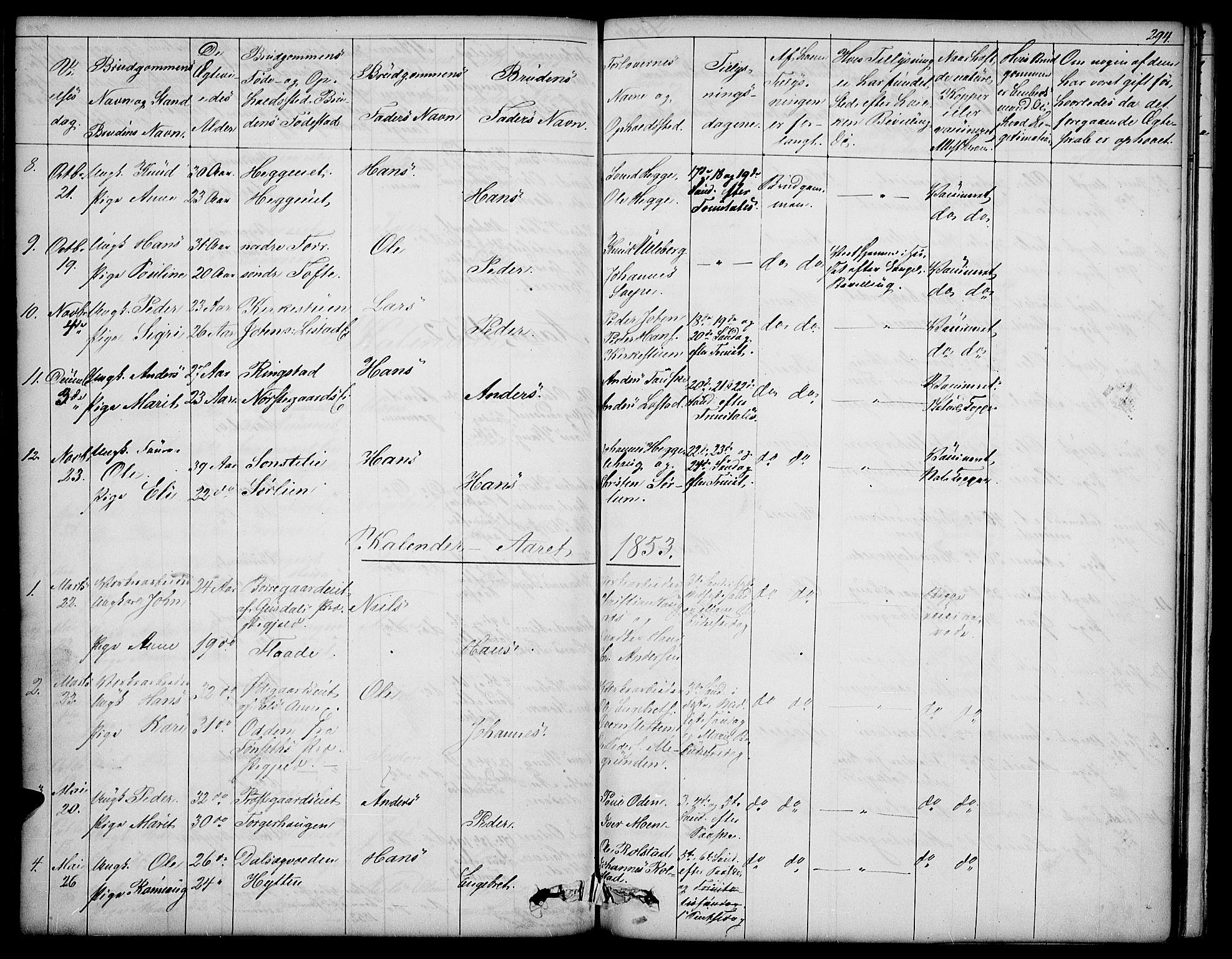 SAH, Sør-Fron prestekontor, H/Ha/Hab/L0001: Klokkerbok nr. 1, 1844-1863, s. 294