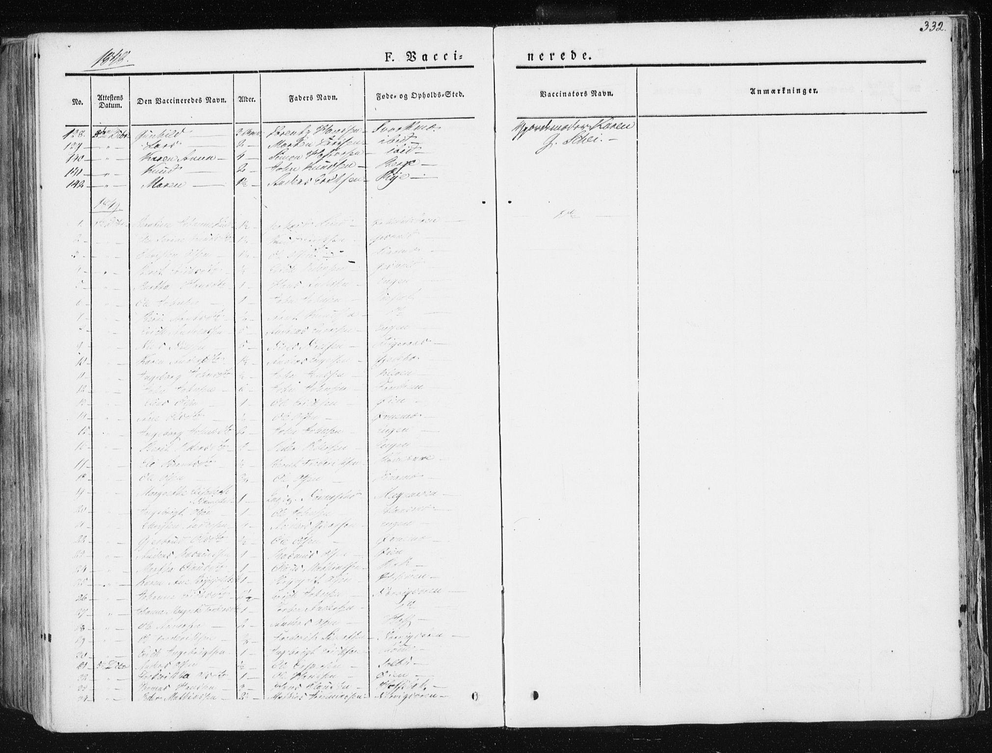 SAT, Ministerialprotokoller, klokkerbøker og fødselsregistre - Sør-Trøndelag, 668/L0805: Ministerialbok nr. 668A05, 1840-1853, s. 332