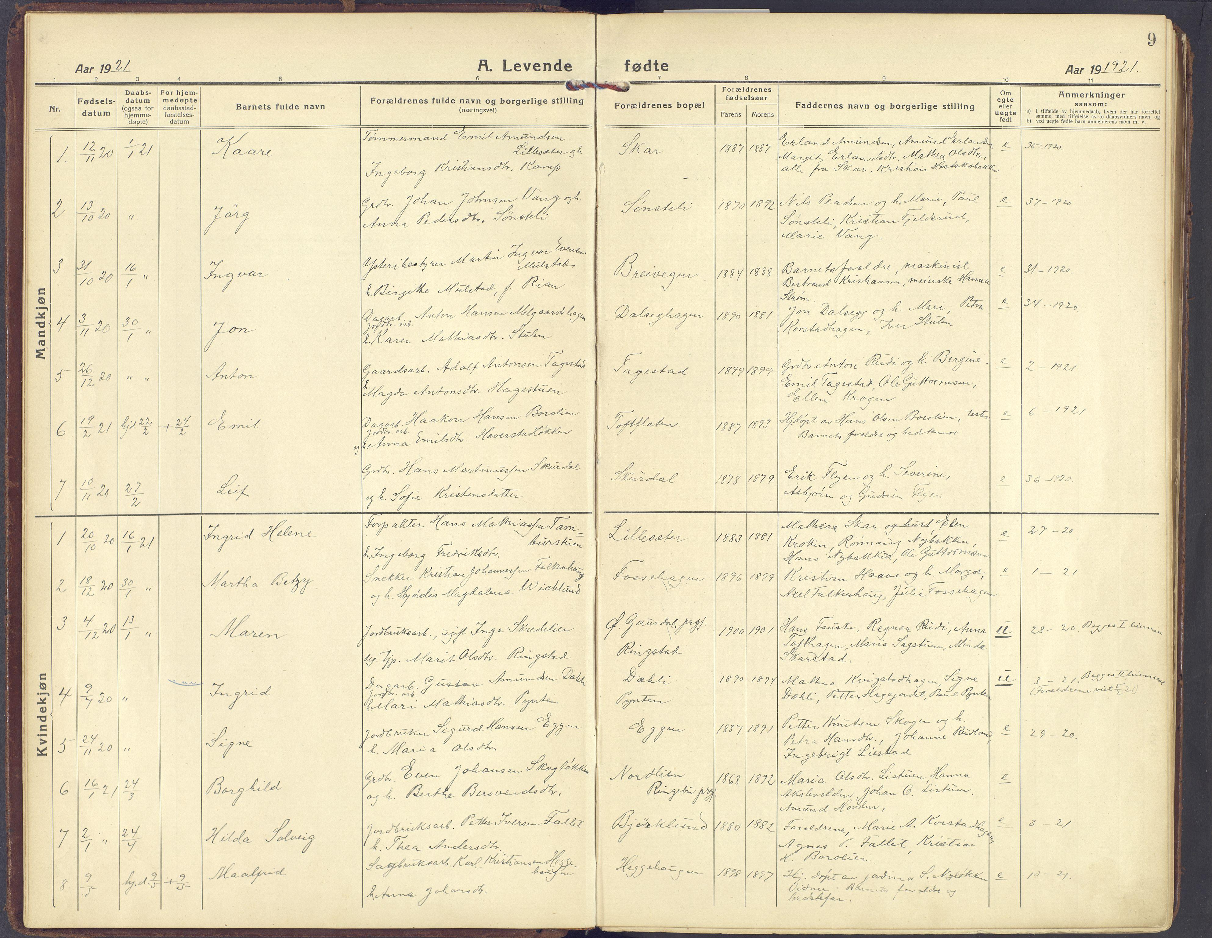 SAH, Sør-Fron prestekontor, H/Ha/Haa/L0005: Ministerialbok nr. 5, 1920-1933, s. 9