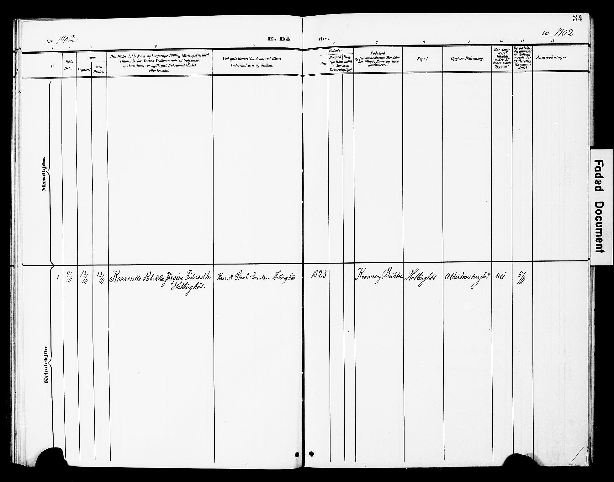 SAT, Ministerialprotokoller, klokkerbøker og fødselsregistre - Nord-Trøndelag, 748/L0464: Ministerialbok nr. 748A01, 1900-1908, s. 34
