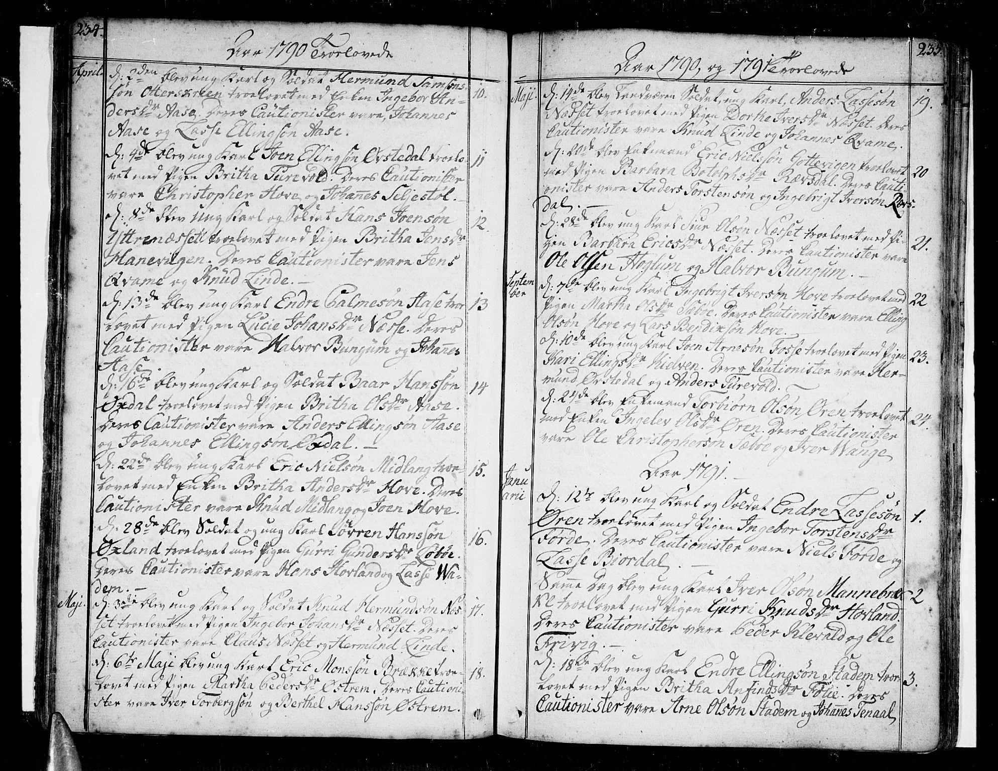 SAB, Vik Sokneprestembete, Ministerialbok nr. A 5, 1787-1820, s. 234-235