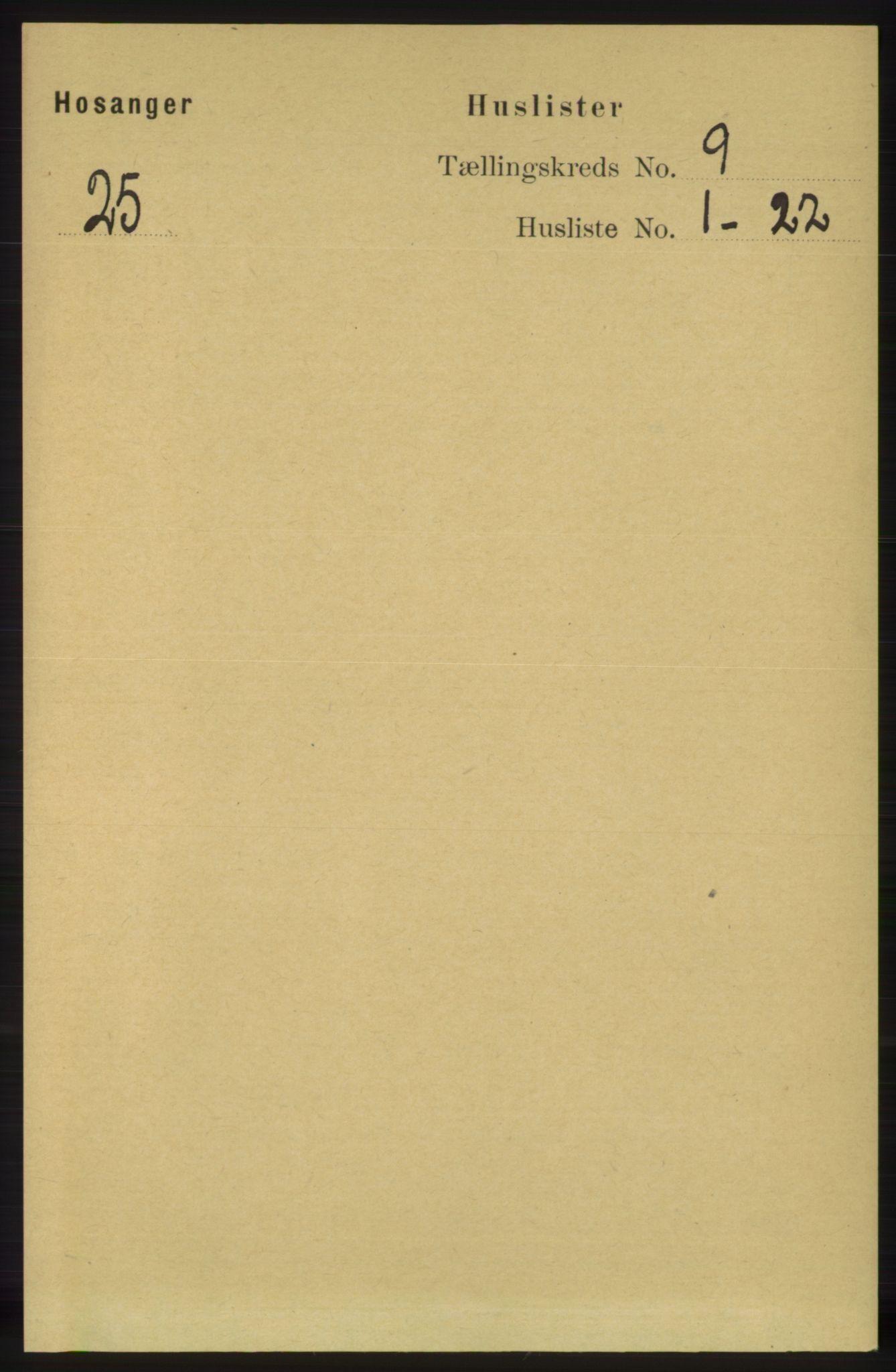 RA, Folketelling 1891 for 1253 Hosanger herred, 1891, s. 3269